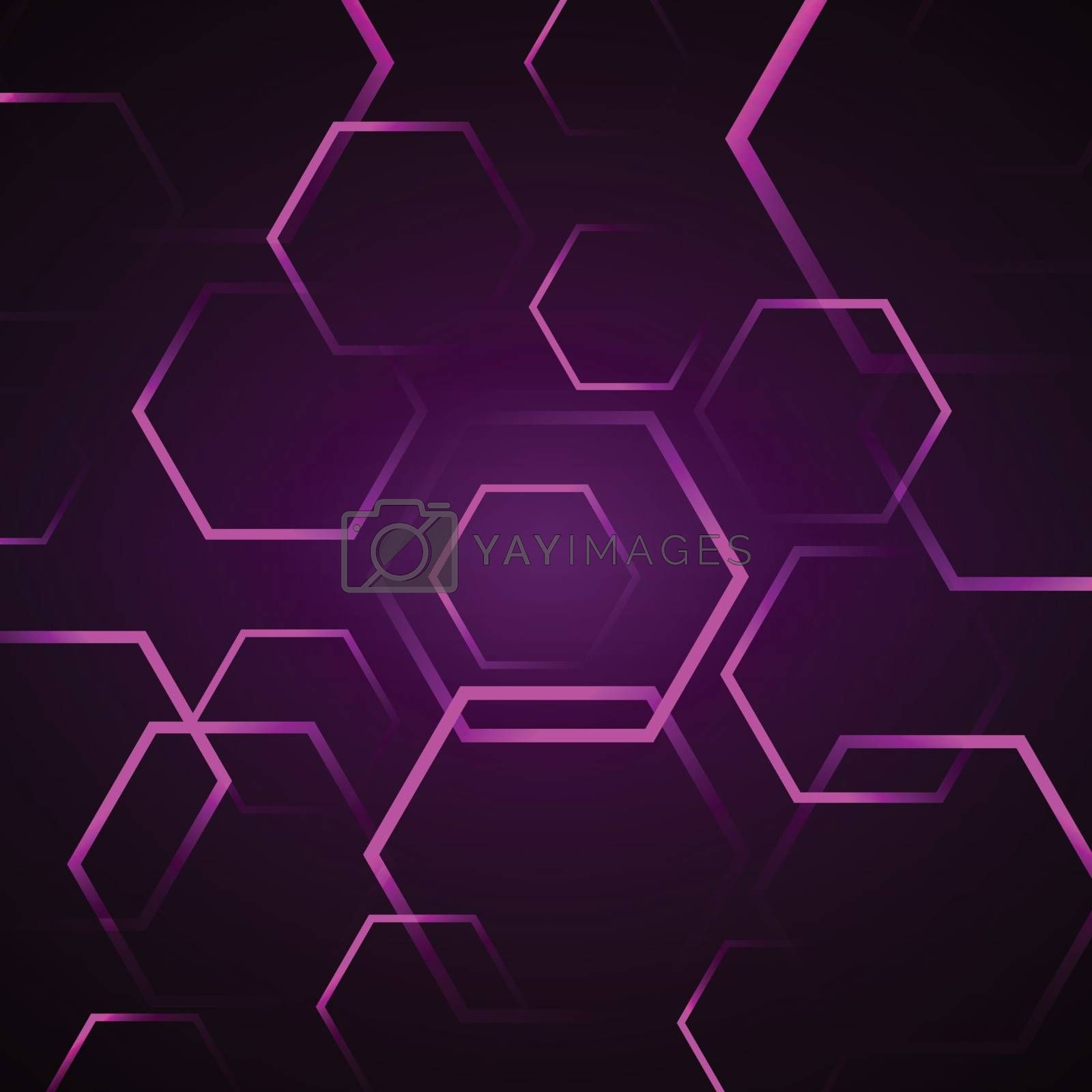 Abstract background with violet hexagon, stock vector