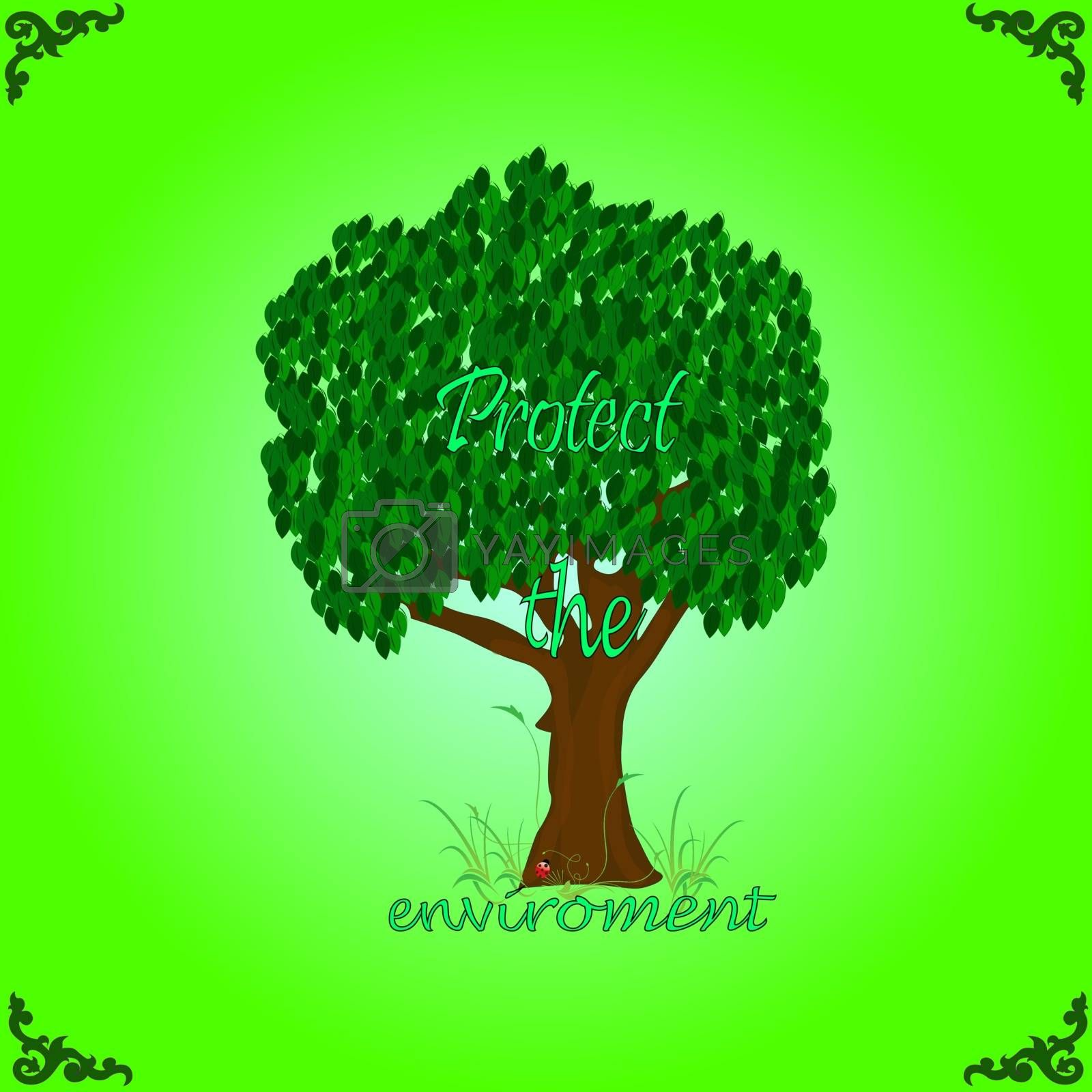 Illustration of tree in the grass, and text on a green background