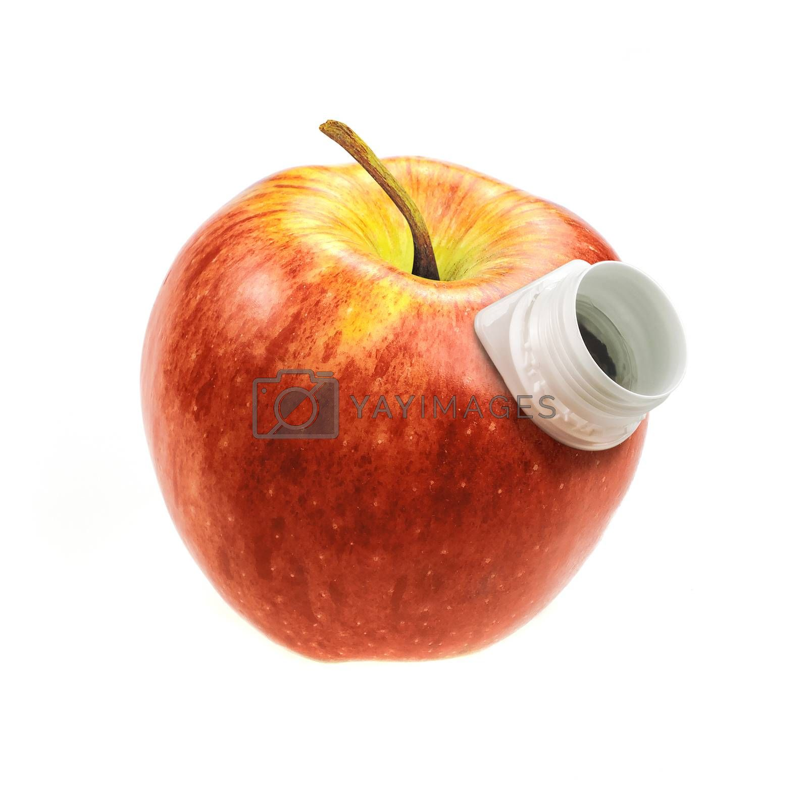 red apple with a hole for drinking juice