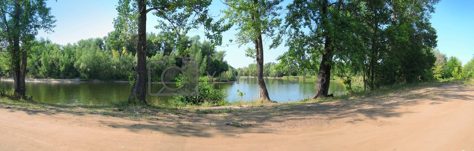 panorama of the river in the summer clear day