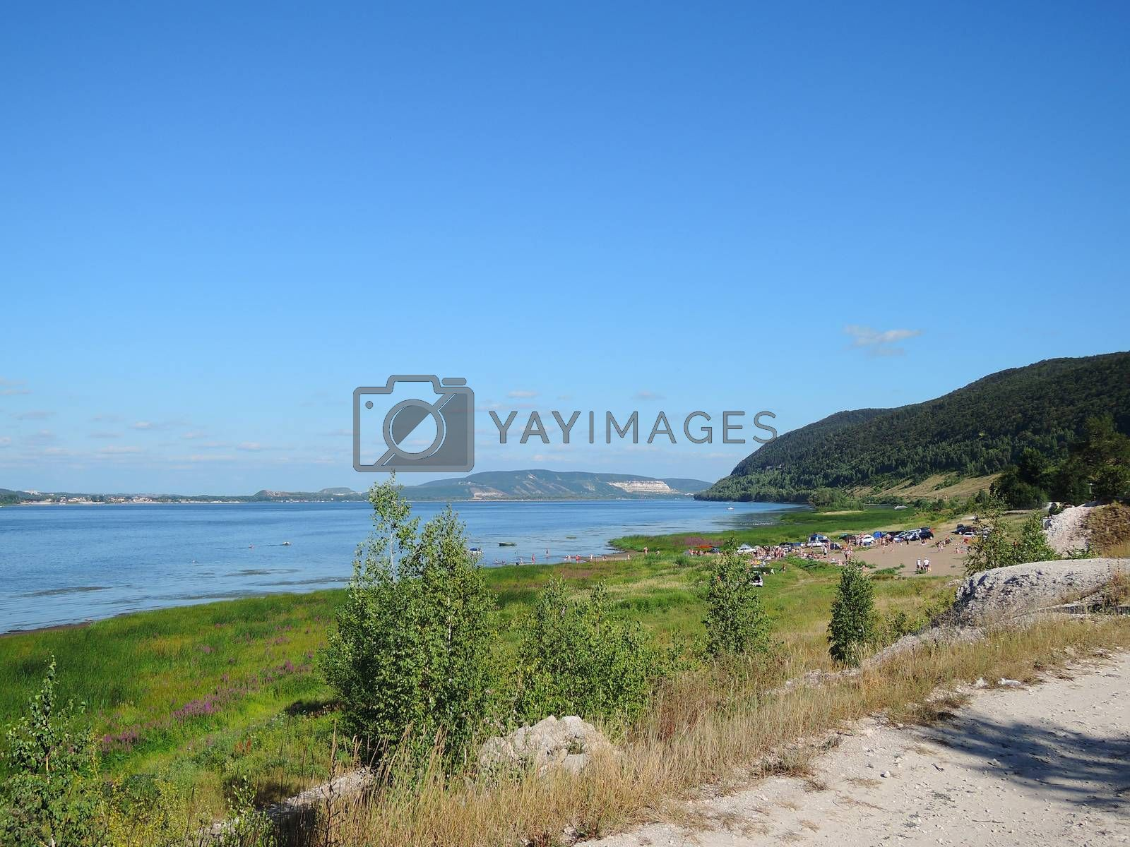beach on the banks of the Volga with mountain summer day