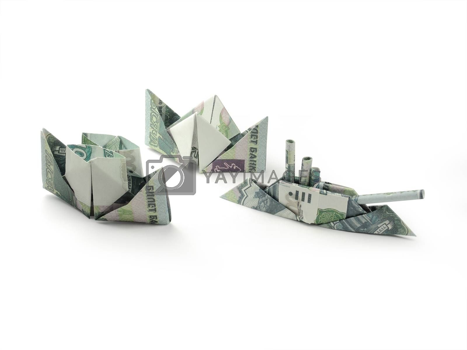 collection of origami ships of one thousand ruble banknotes