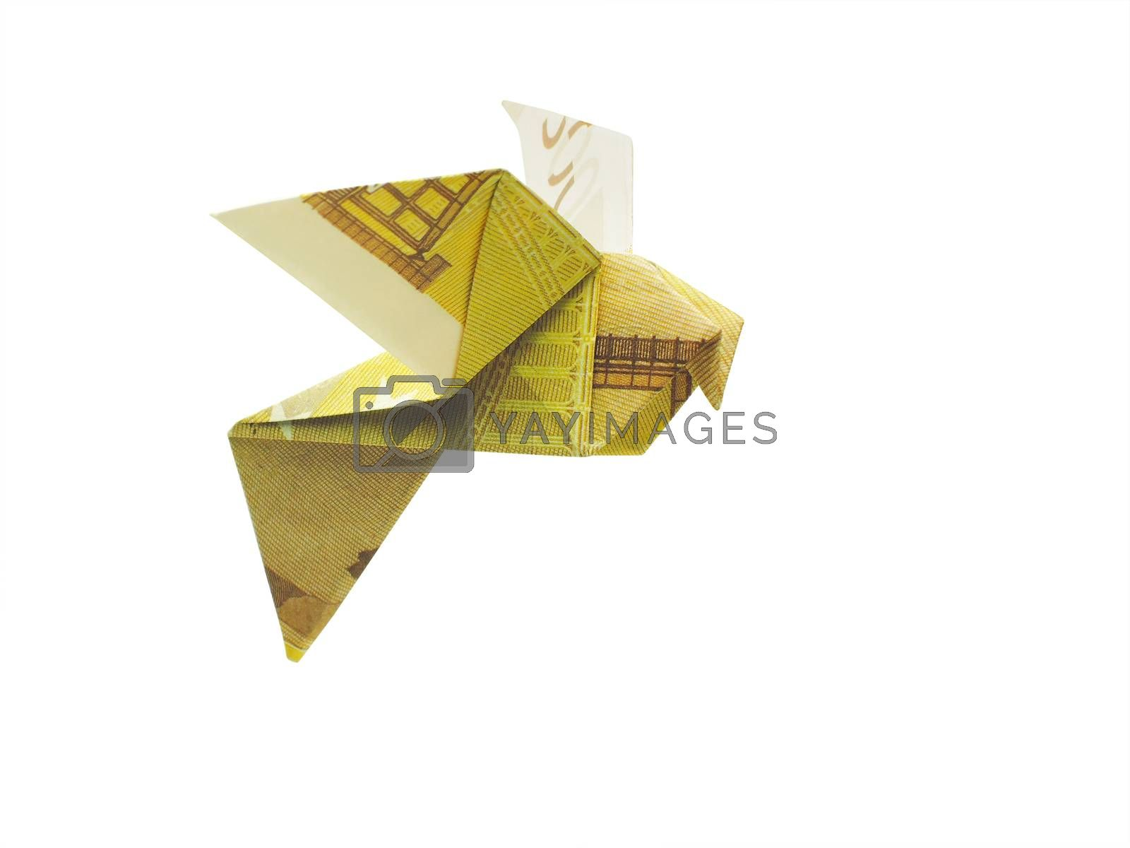 origami birds from 200 euro banknotes