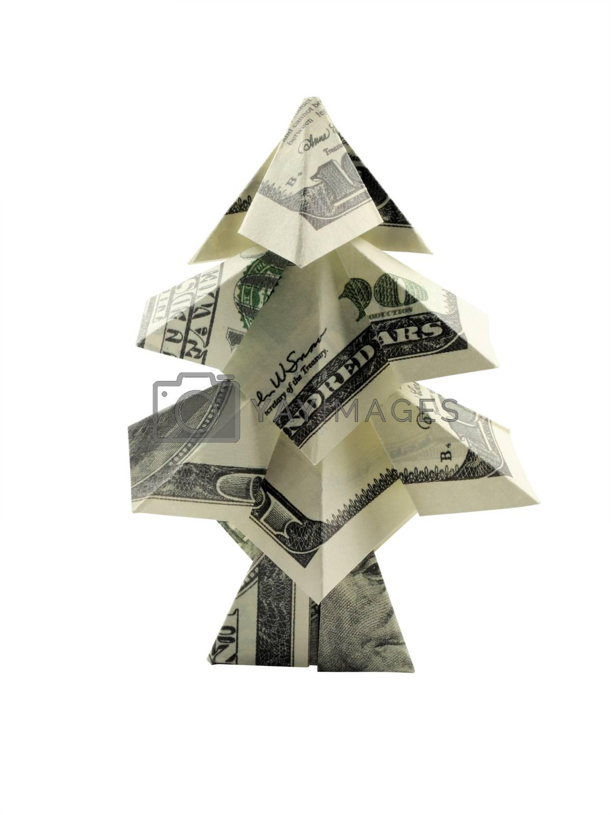 Christmas tree made of hundred dollar bills