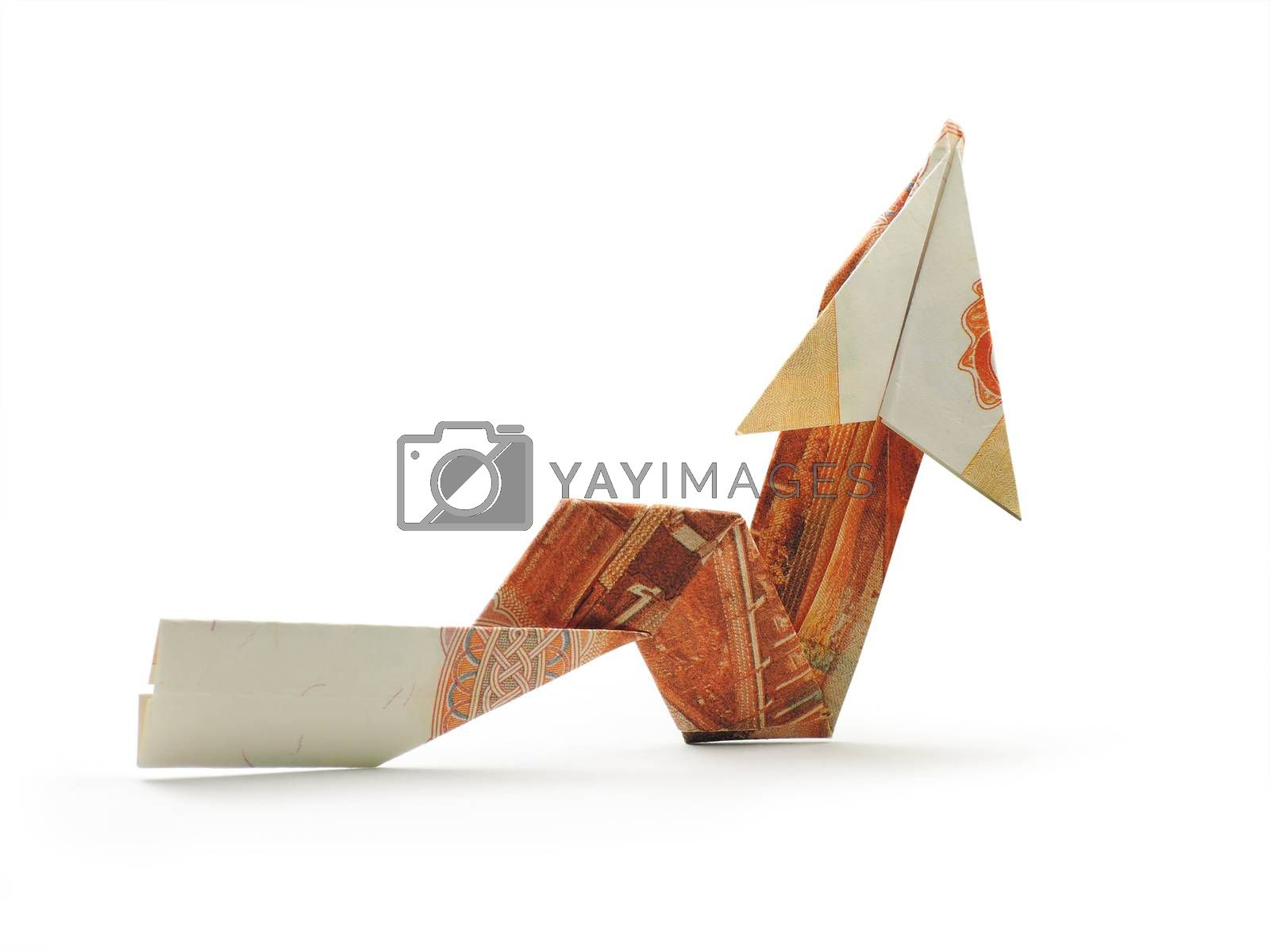 origami arrow five thousand ruble note