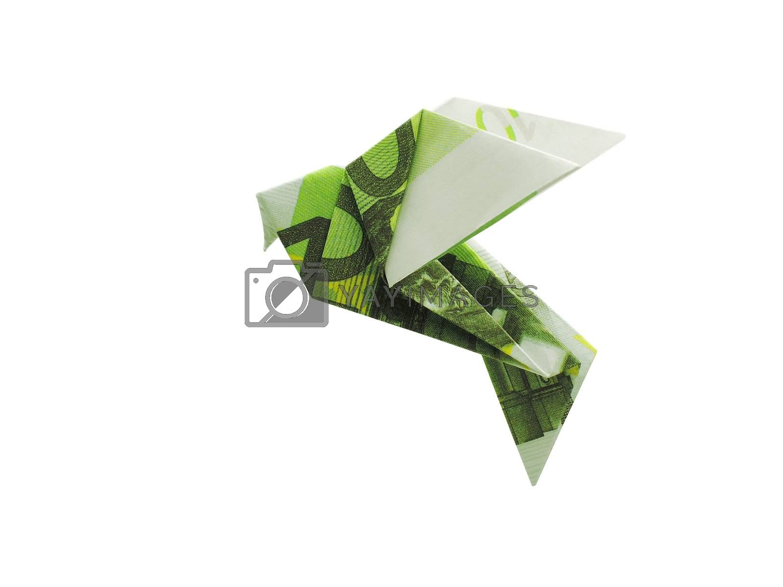 origami birds from 100 euro banknotes