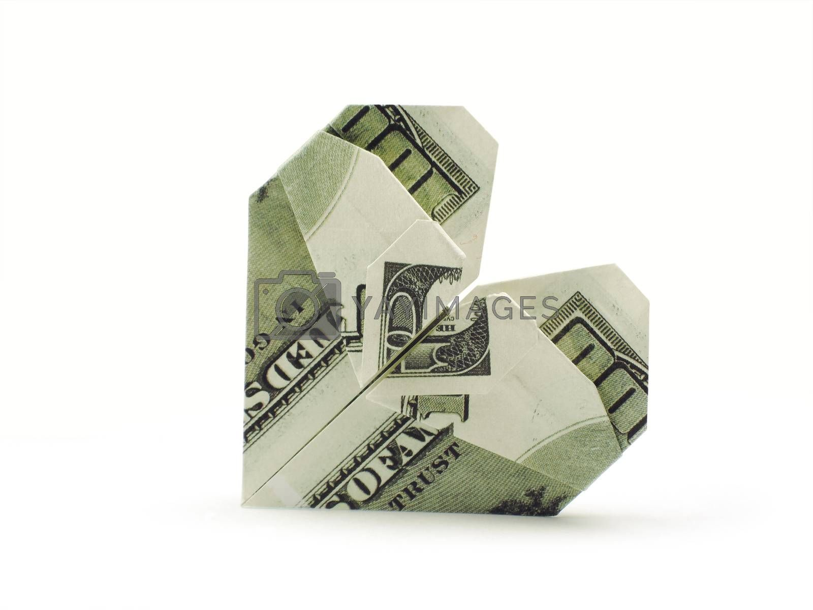 origami heart of hundred dollar banknotes