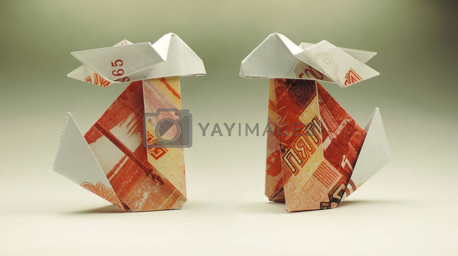 Origami Bunny of paper rubles