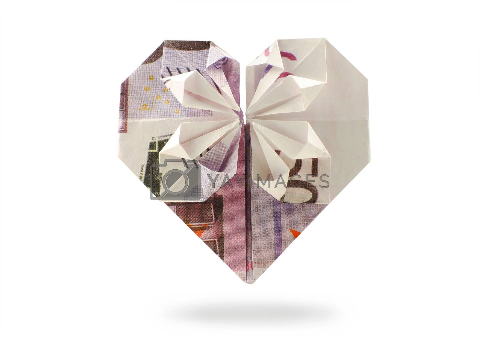 origami heart of five hundred banknote
