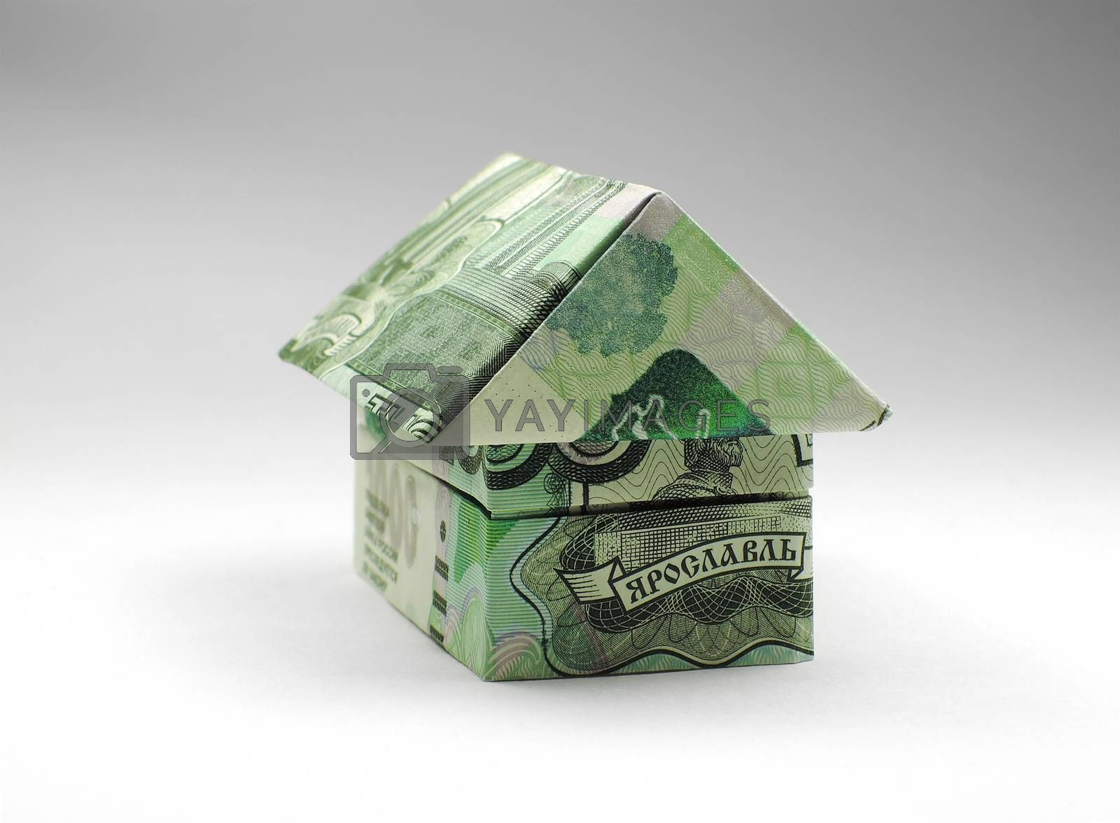 origami house of one thousand ruble note