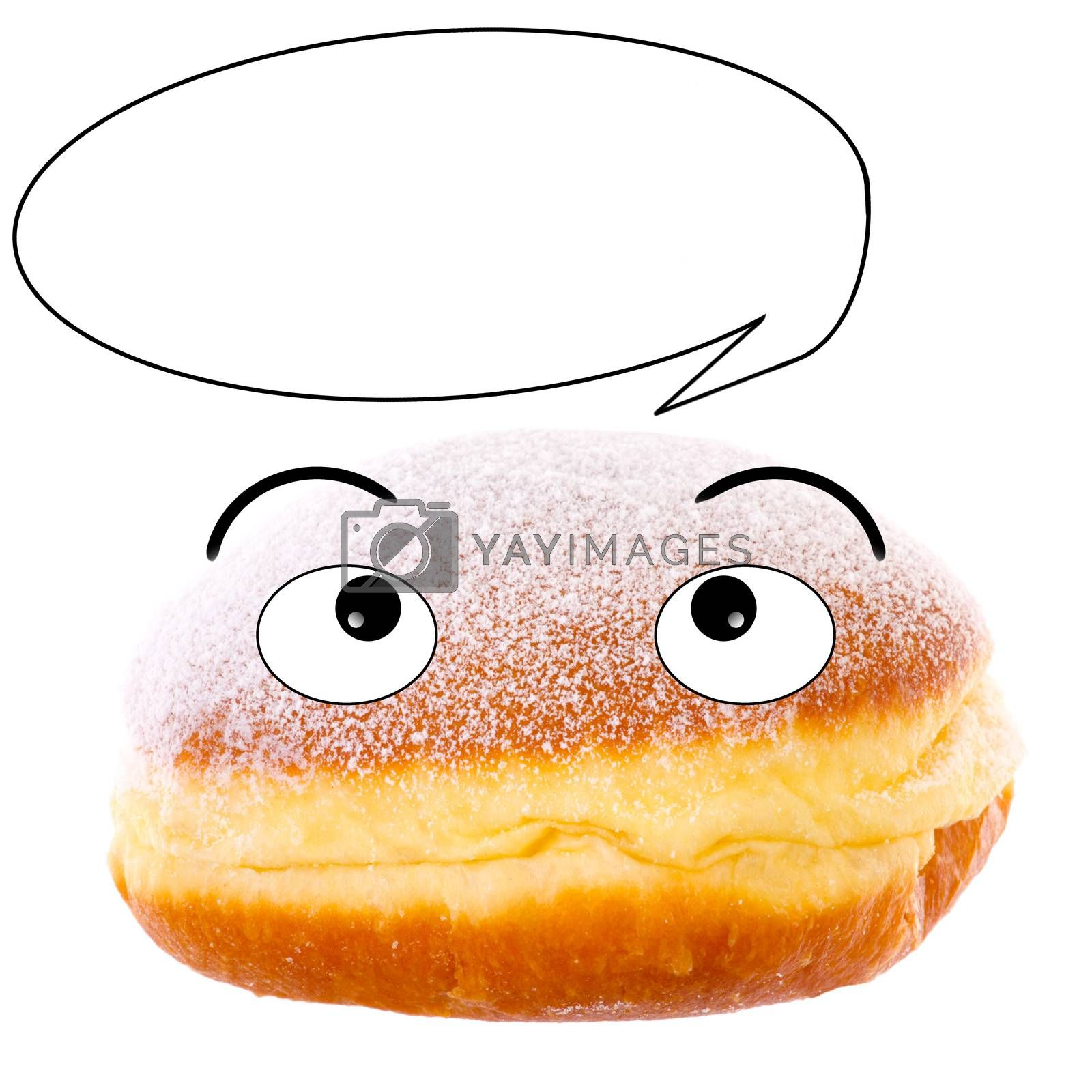 Cute Krapfen with speech bubble