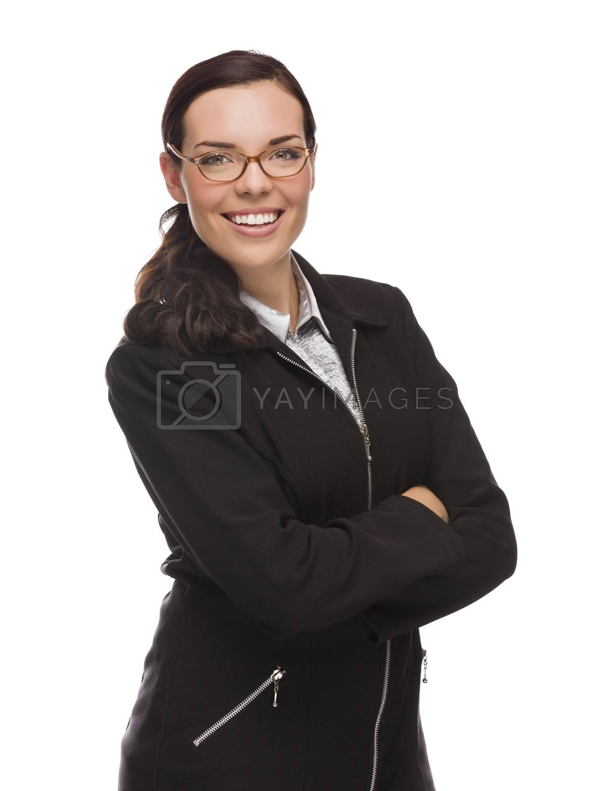 Confident Mixed Race Businesswoman Isolated on a White Background.
