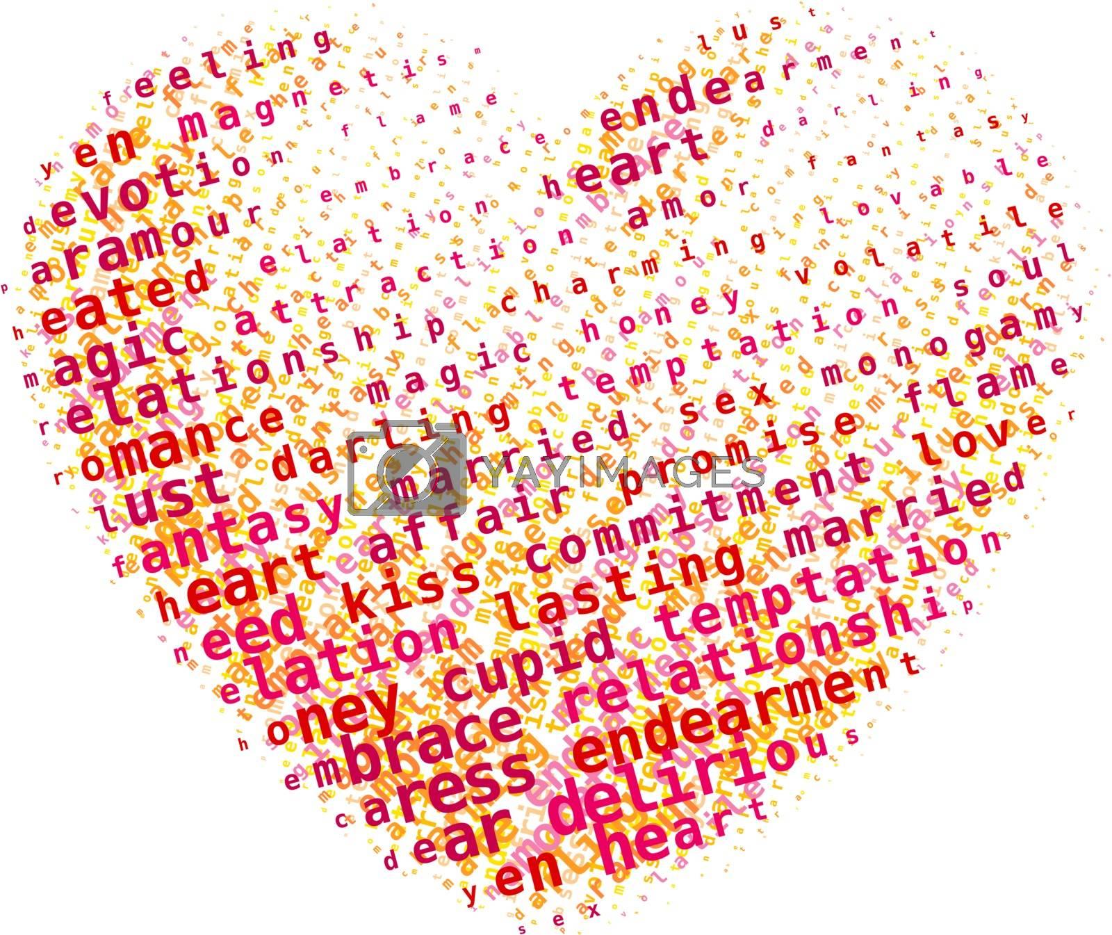 Word cloud heart. Eps8. RGB. Global colors. Gradients free
