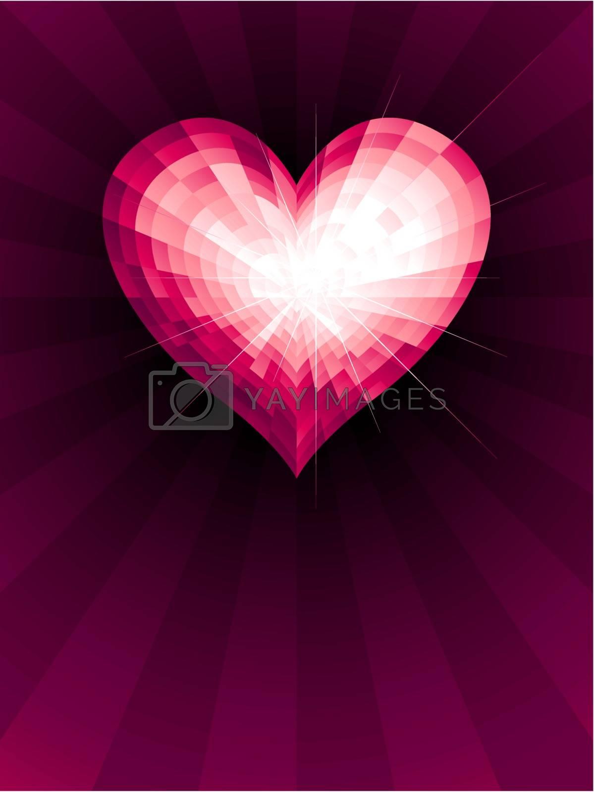 Crystal heart. Eps8. RGB. Global colors. Gradients used
