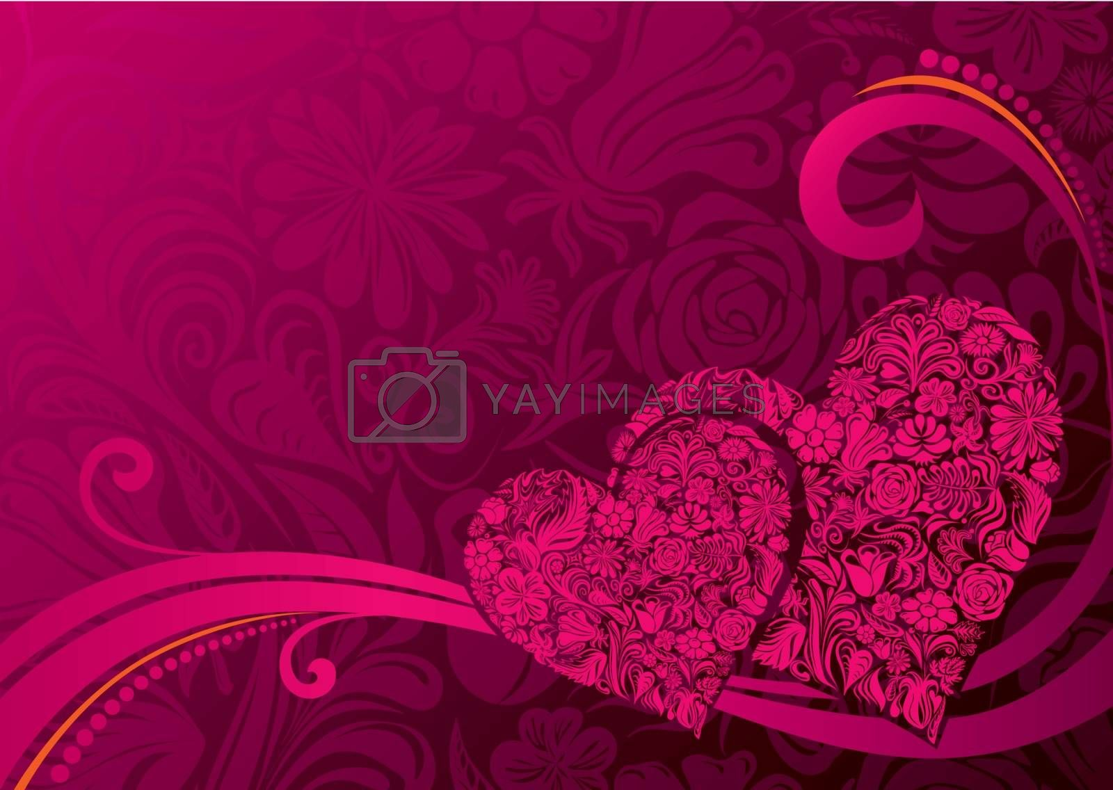 Two heart shapes consist of flowers. Eps8. CMYK. Layers organized. Gradients used.