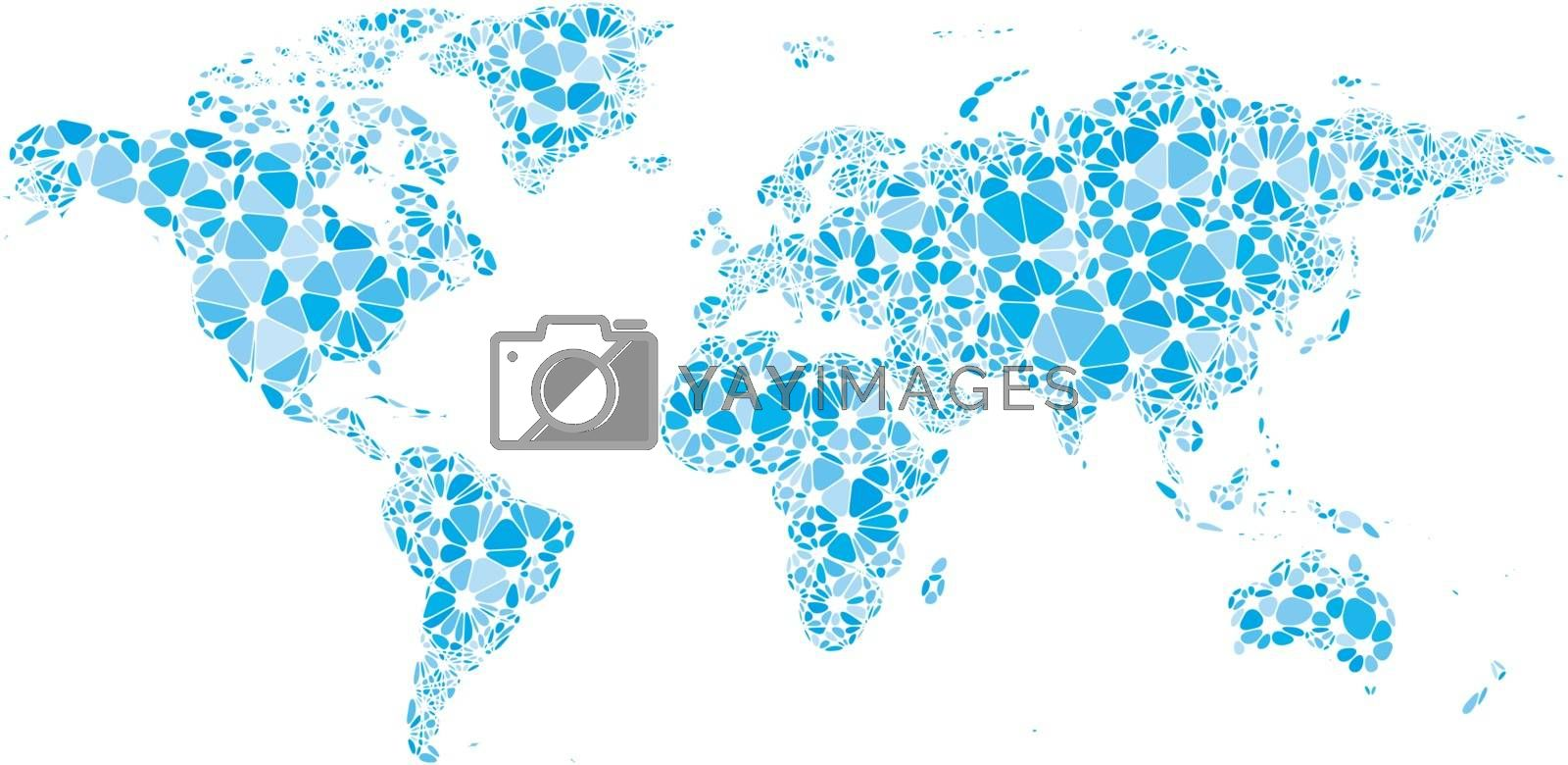 World map consisting of nodes linked by lines isolated on white. Eps8. CMYK. Organized by layers. Global colors. Gradients free.