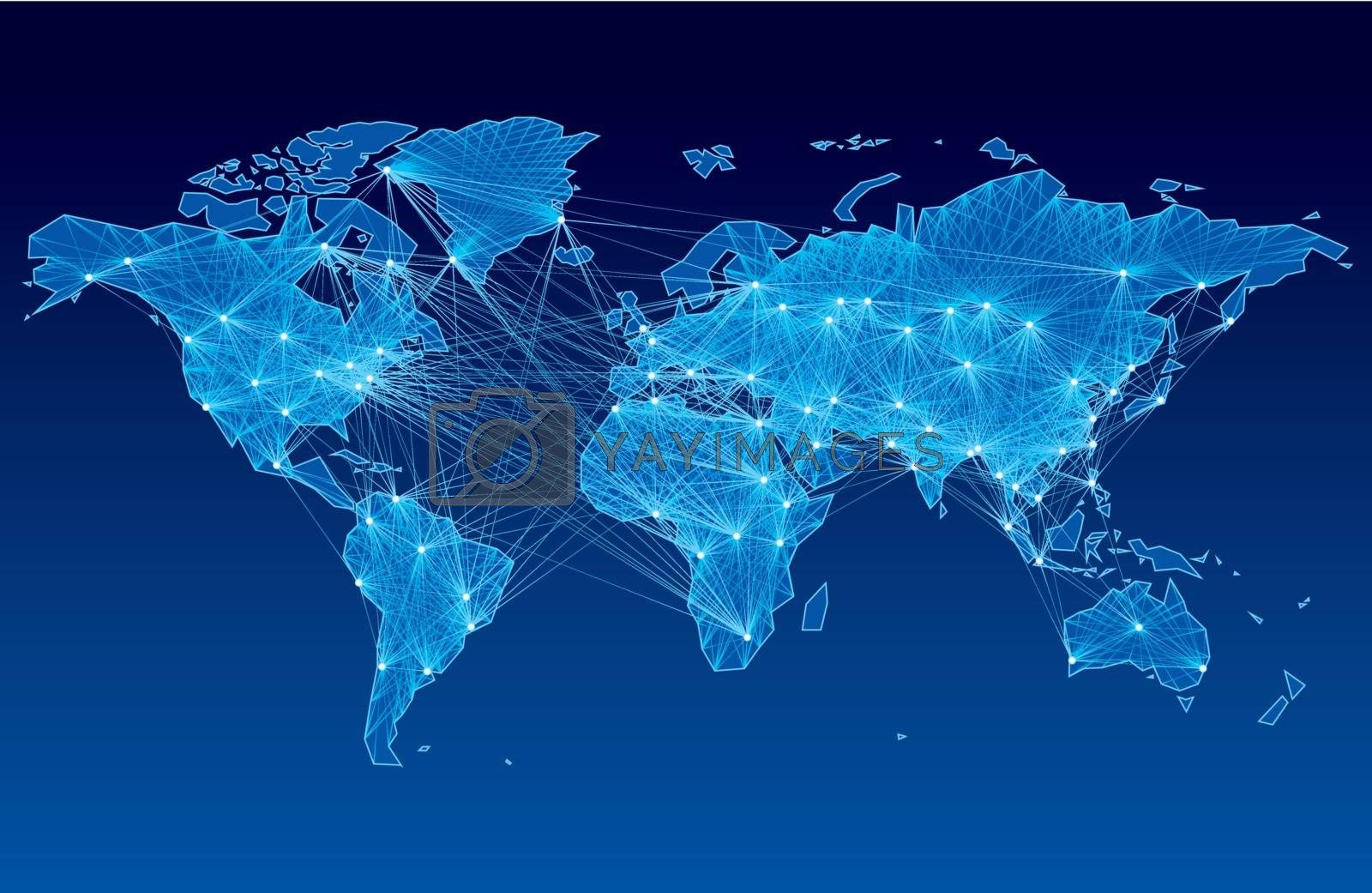 World map with nodes linked by lines. Eps8. CMYK. Organized by layers. Global colors. Gradients used.