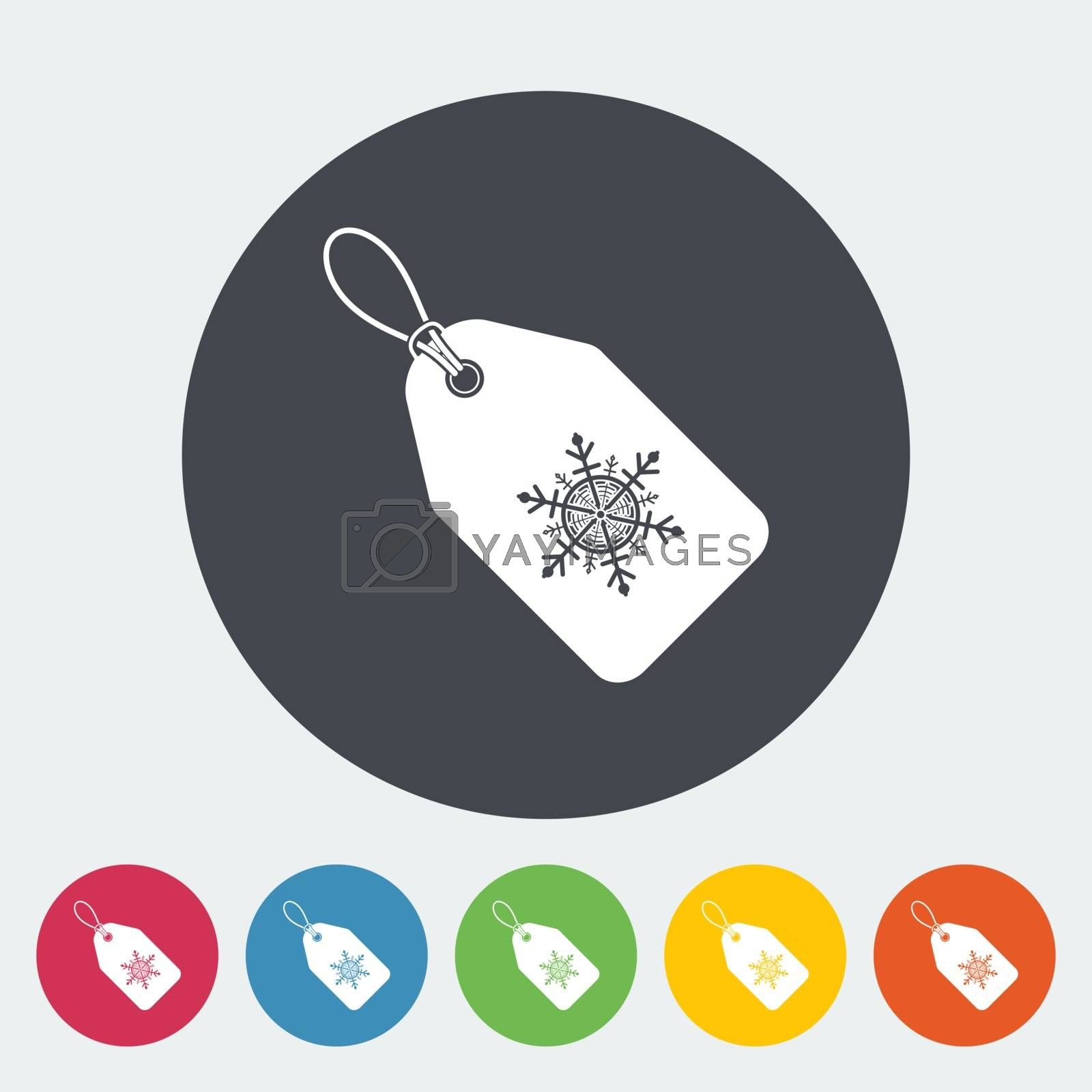 Christmas tag. Single flat icon on the circle. Vector illustration.