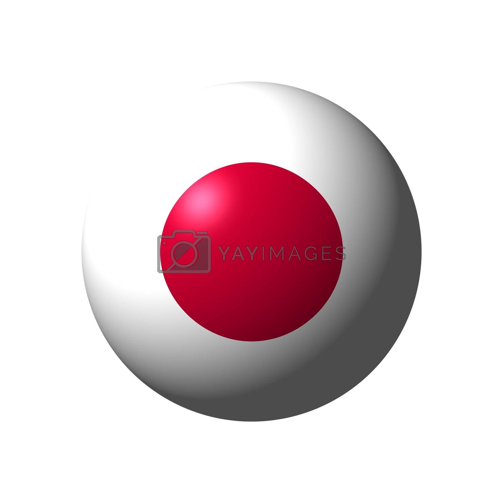 Sphere with flag of Japan nation