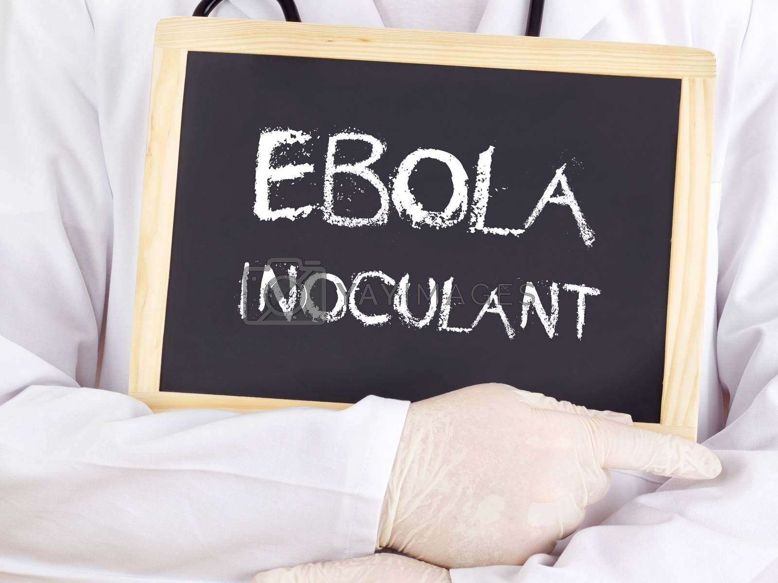 Doctor shows information: Ebola inoculant