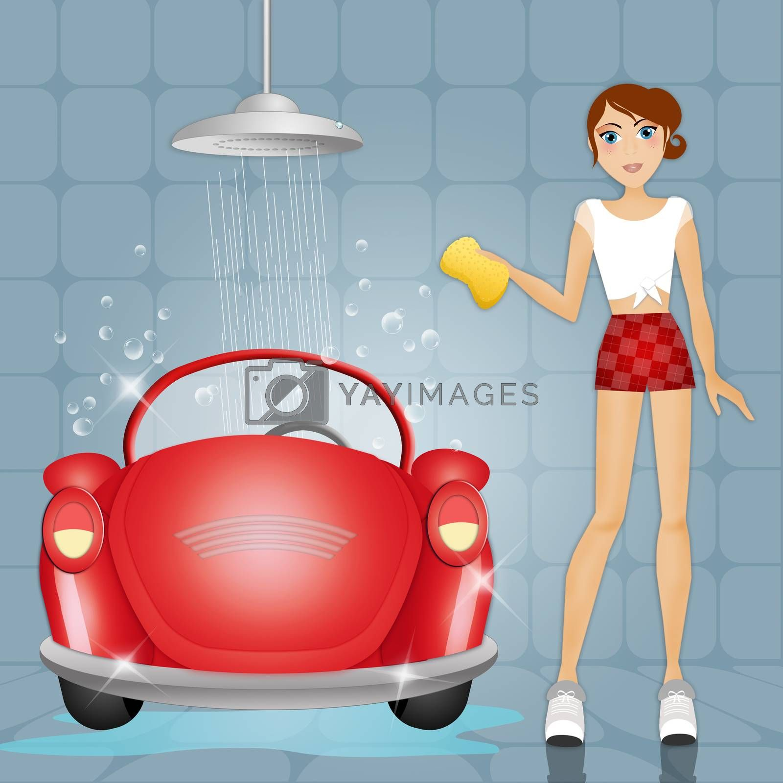 illustration of Woman at car wash