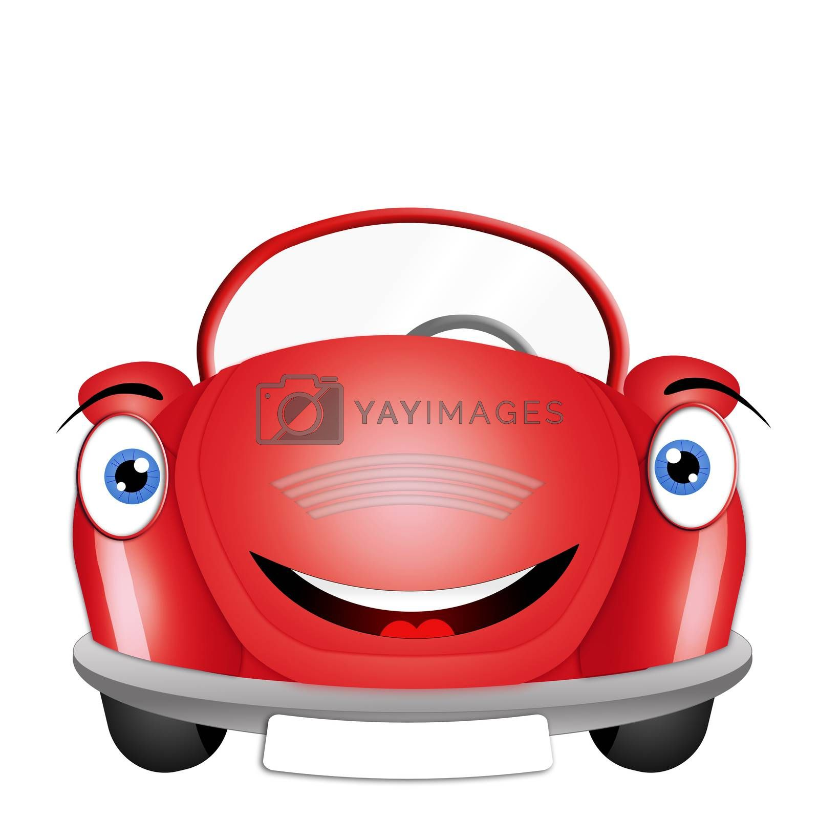 illustration of Funny red car