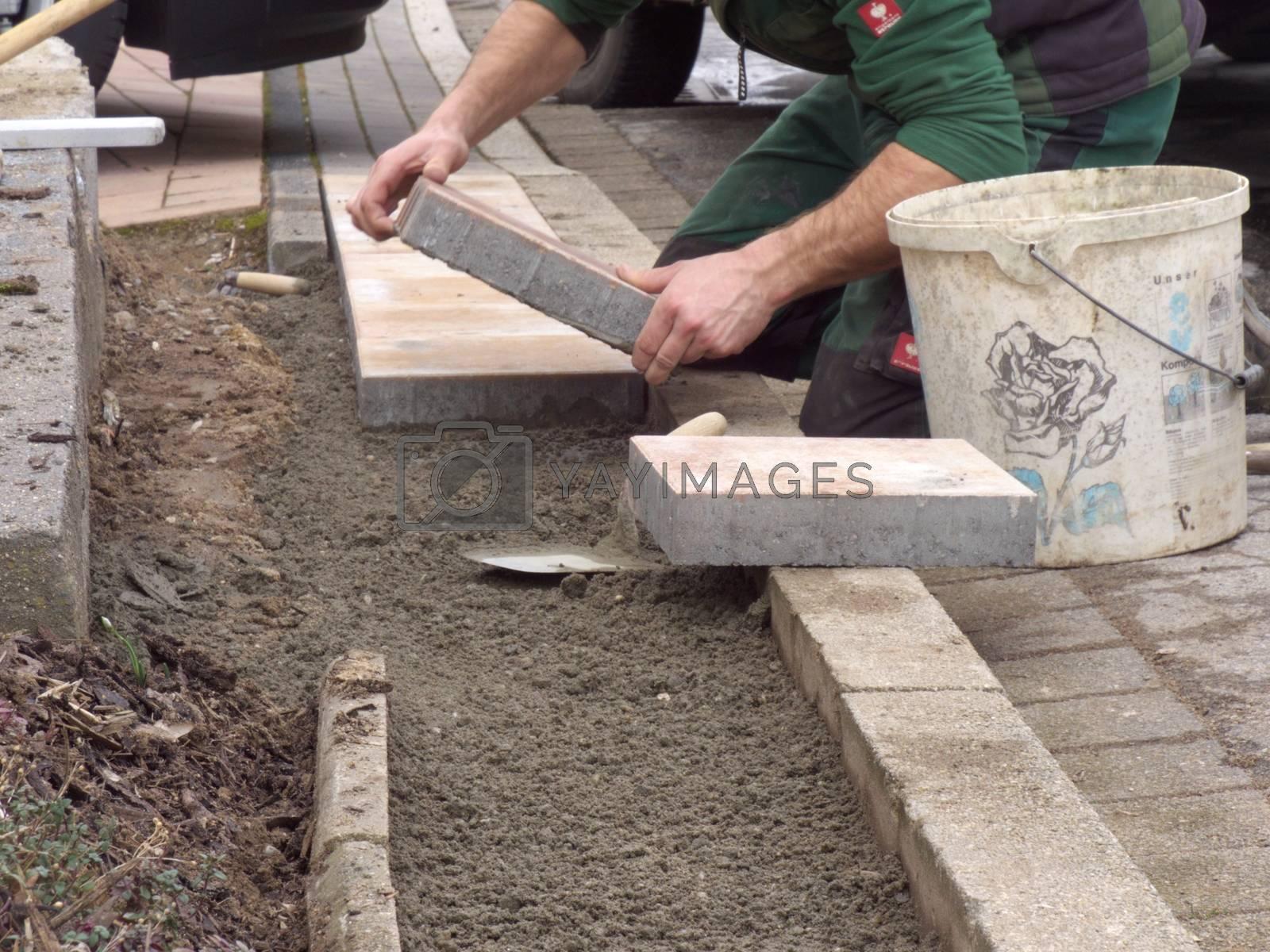 Paving stones laid