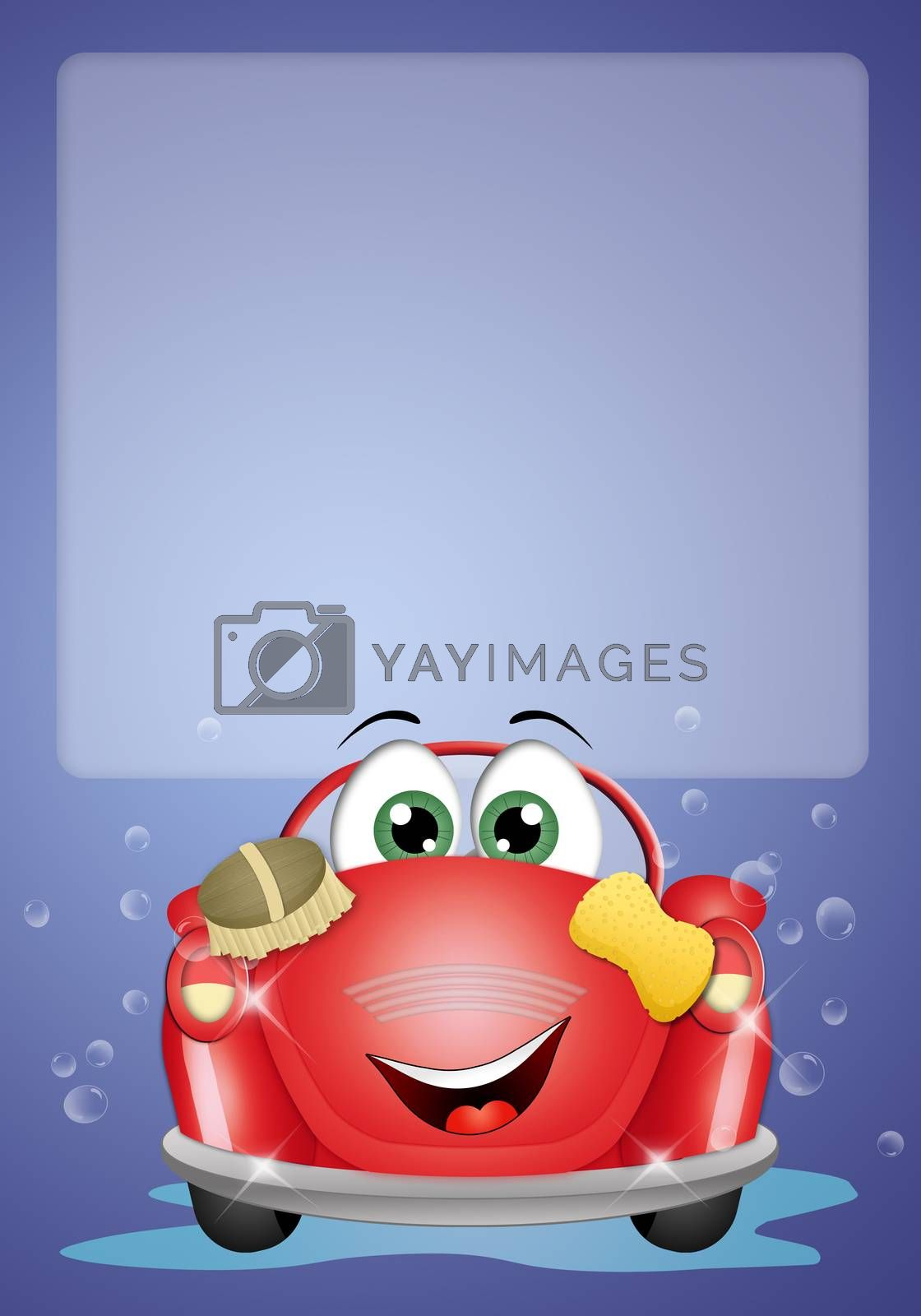 illustration of Funny car at car wash background