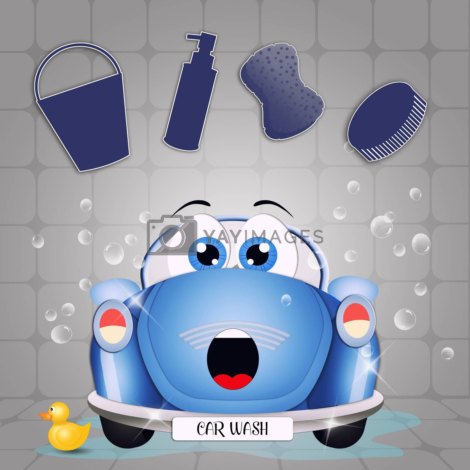 illustration of car washing