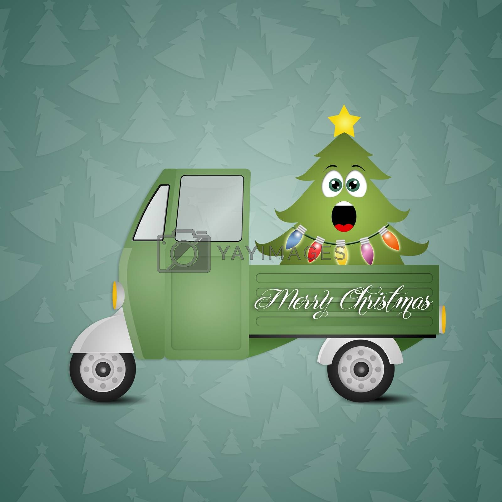 illustration of funny Christmas tree in truck