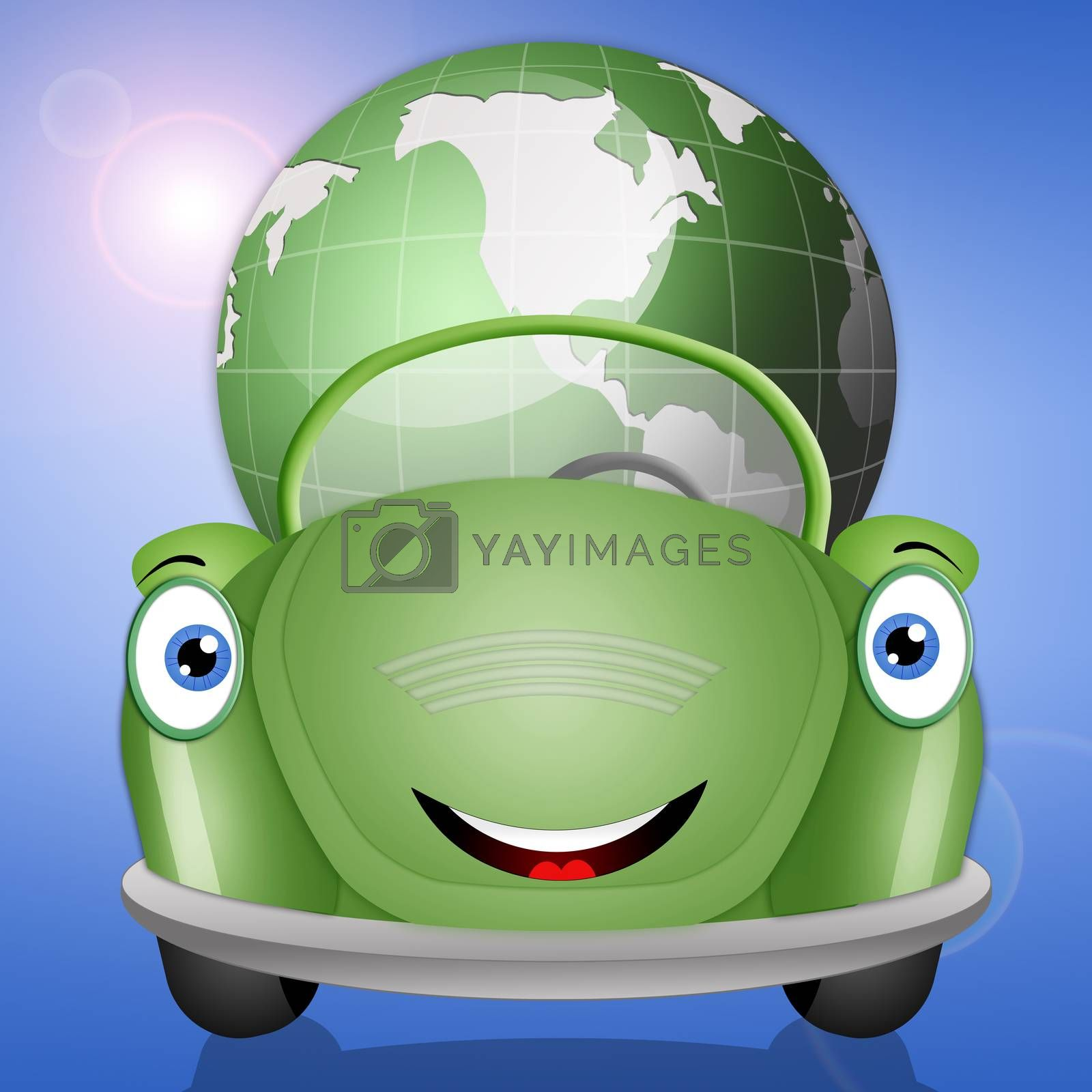 illustration of Ecological green car with earth