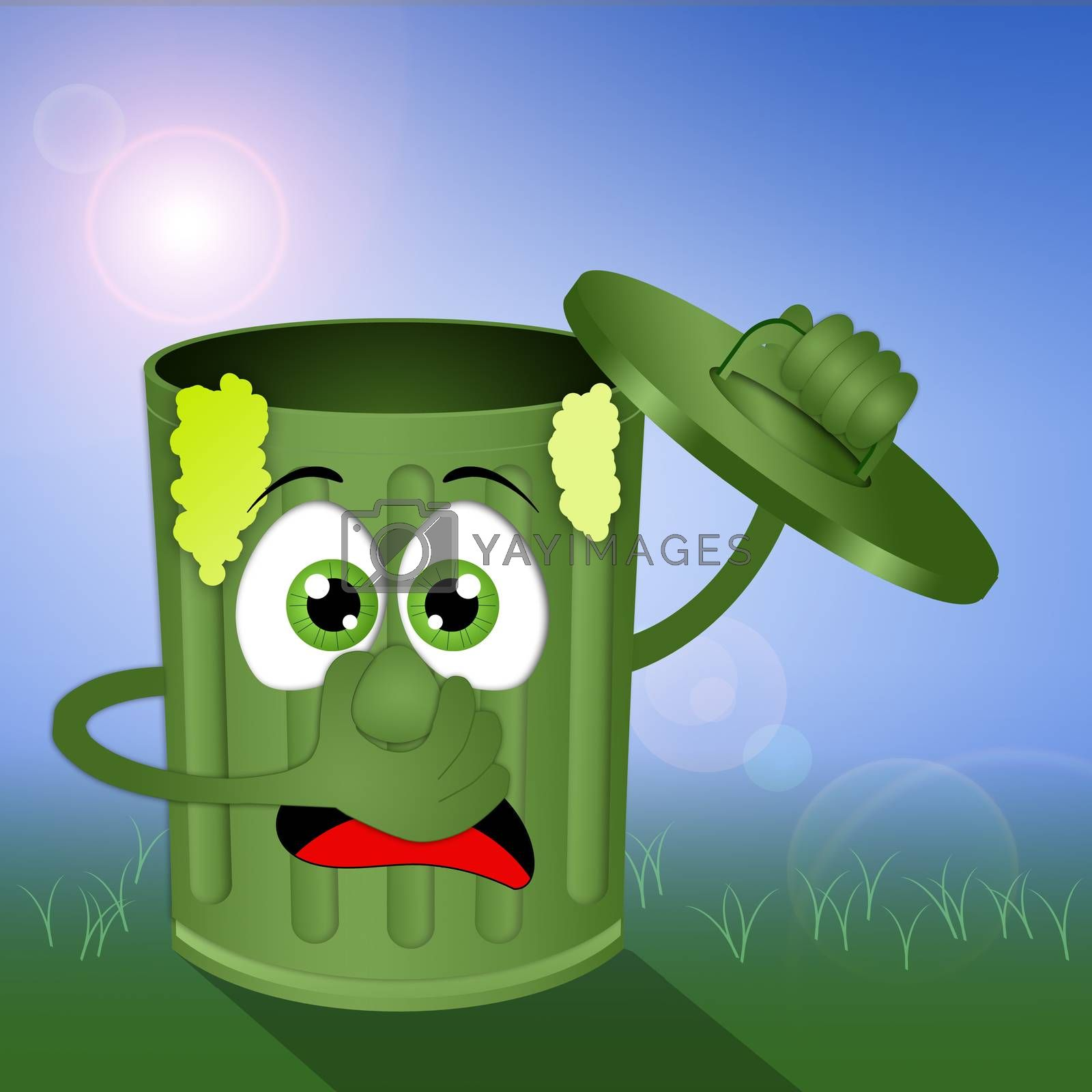 illustration of Funny green stinky garbage bin