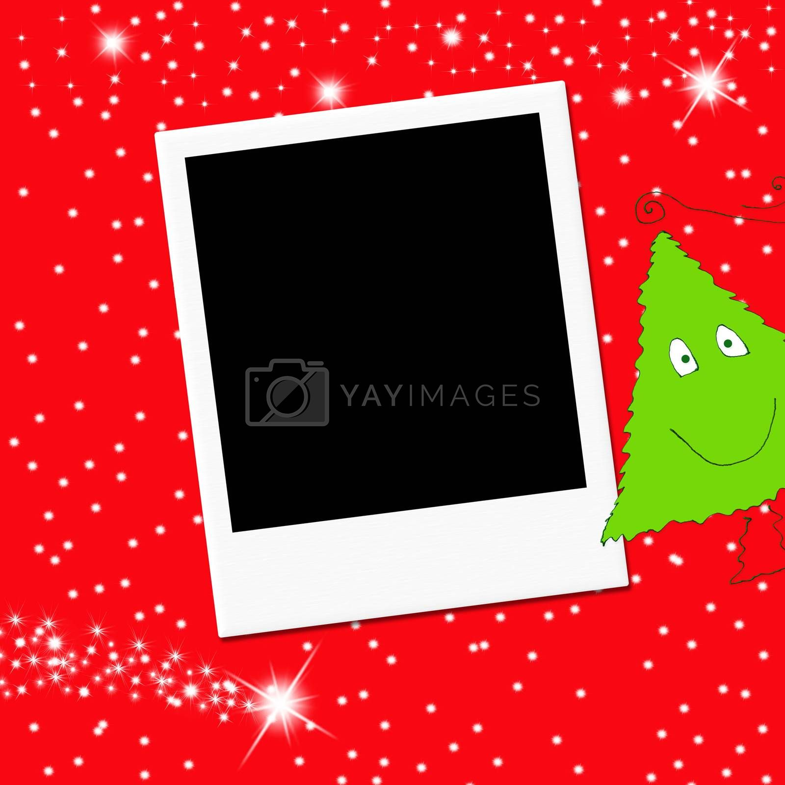 Cute Christmas tree and blank  photo frame on red background