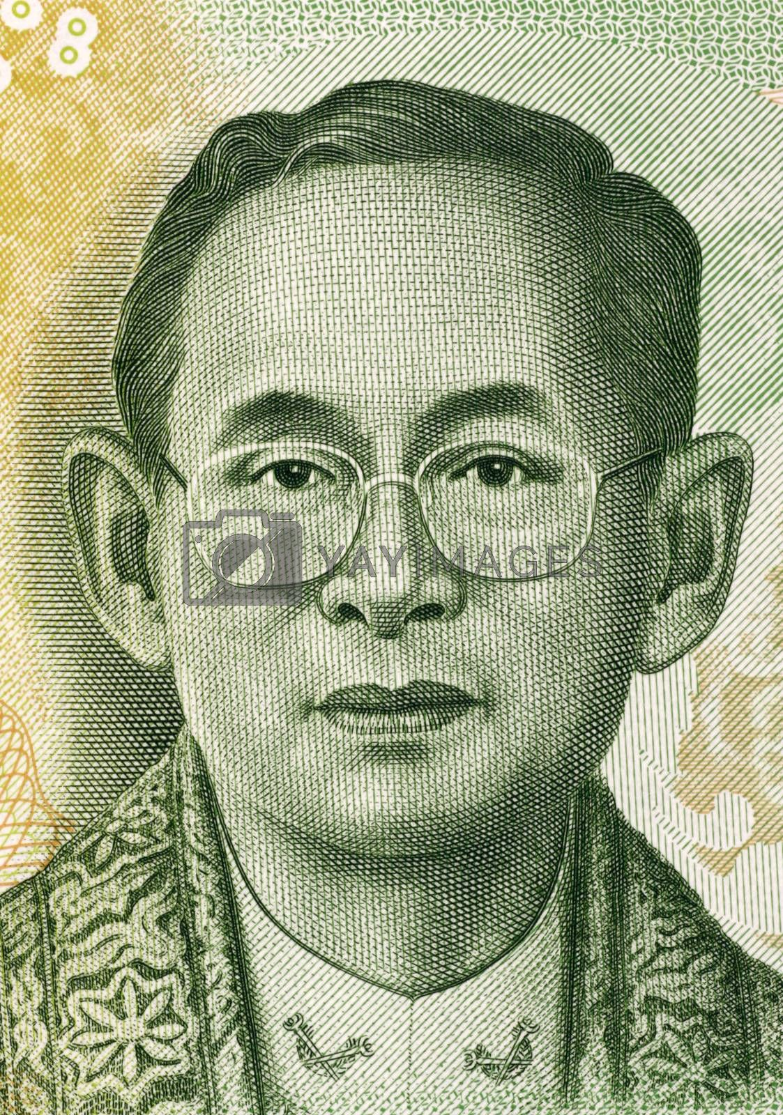 King Rama IX (born 1927) on 20 Baht 2013 Banknote from Thailand. King of Thailand.