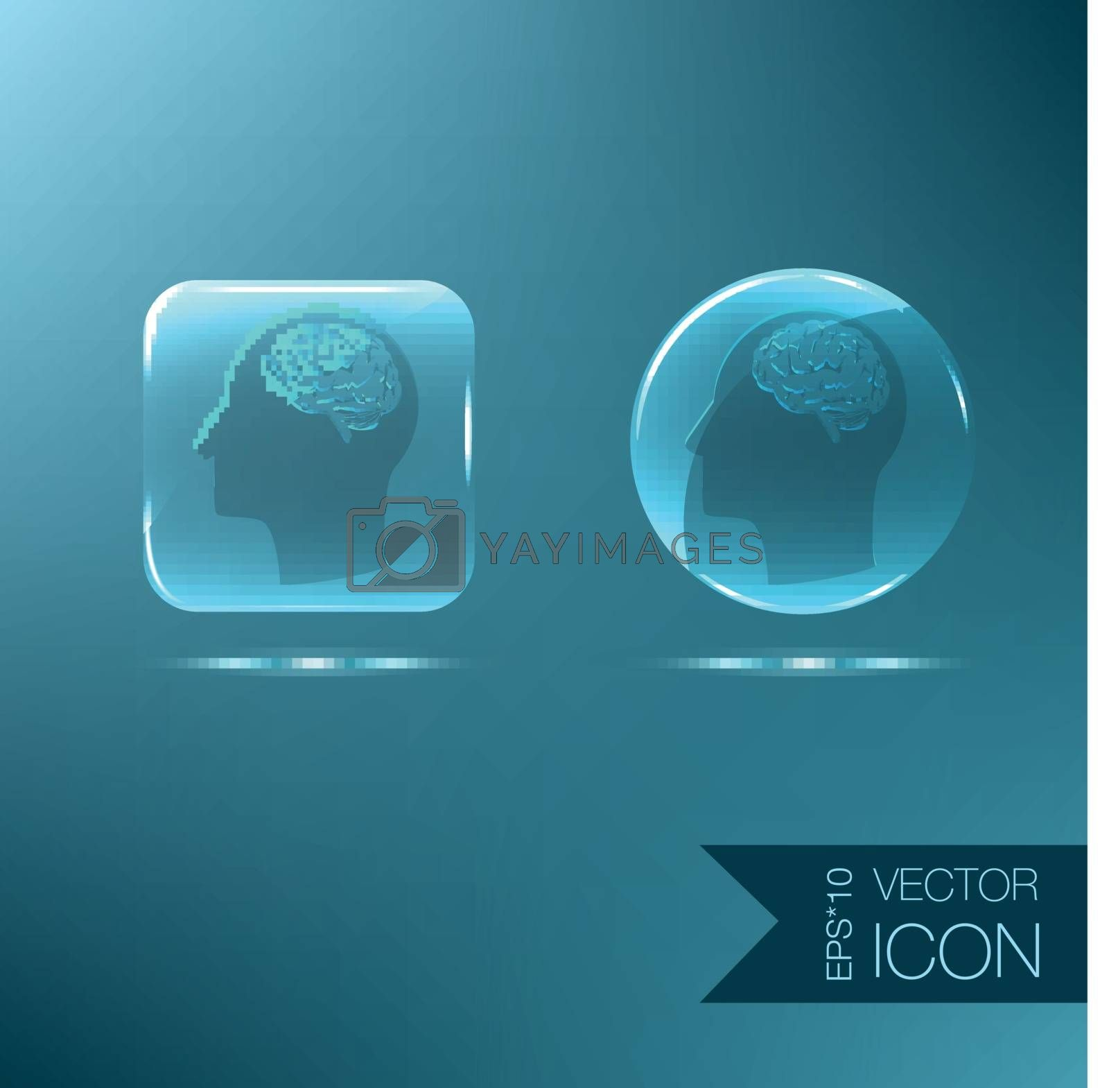 Vector Icon head think silhoutte vector man and his mind about Brain.  Mind and science