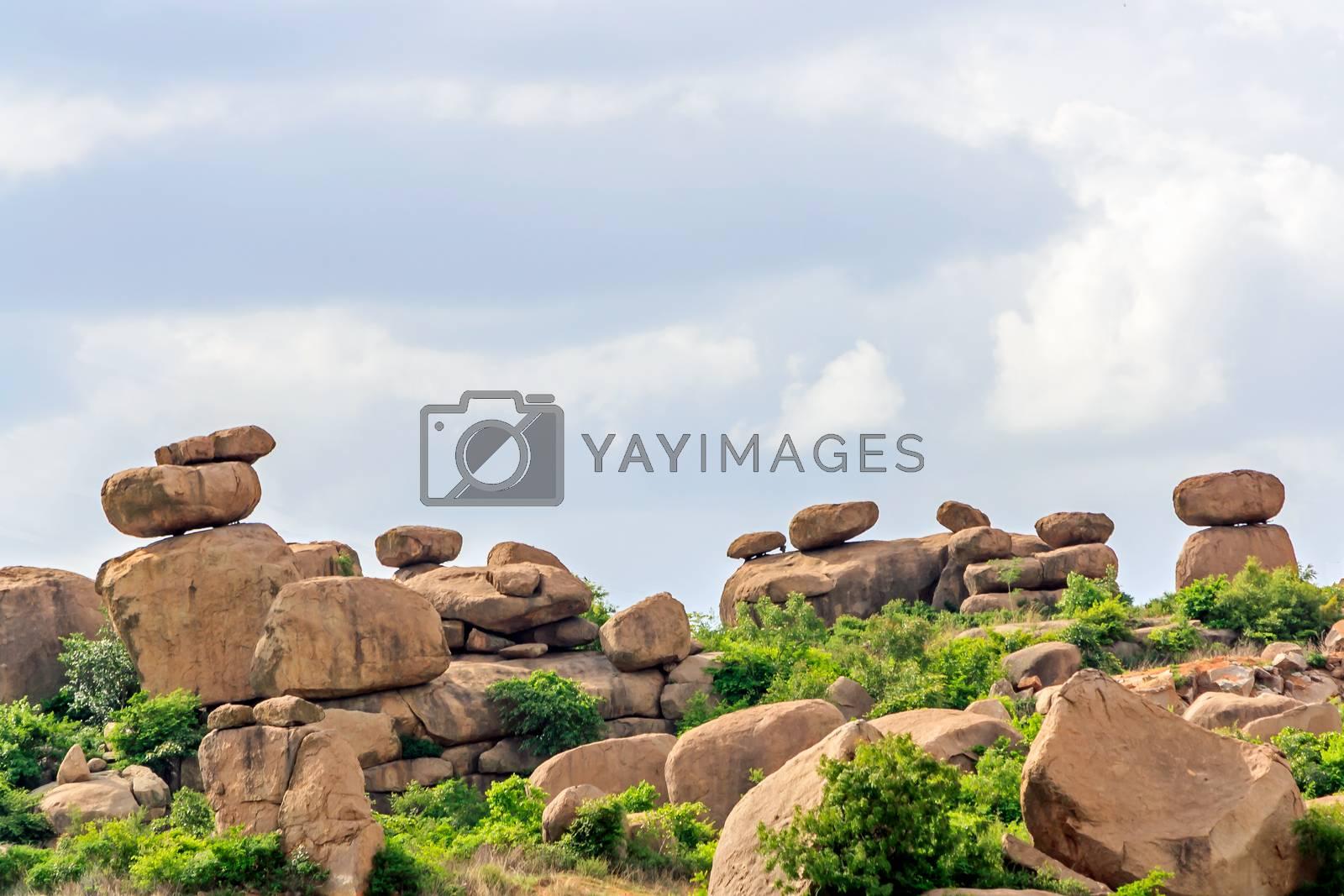 Balanced Granite Rock boulders in their natural setting