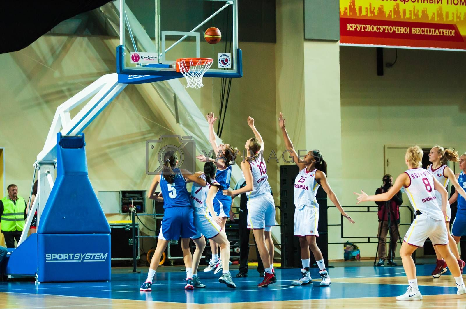 ORENBURG, ORENBURG region, RUSSIA, 21 October, 2014 year. Match of the womens League of the Championship of Russia on basketball Nadezhda (Orenburg)-Dinamo GUVD (Novosibirsk)