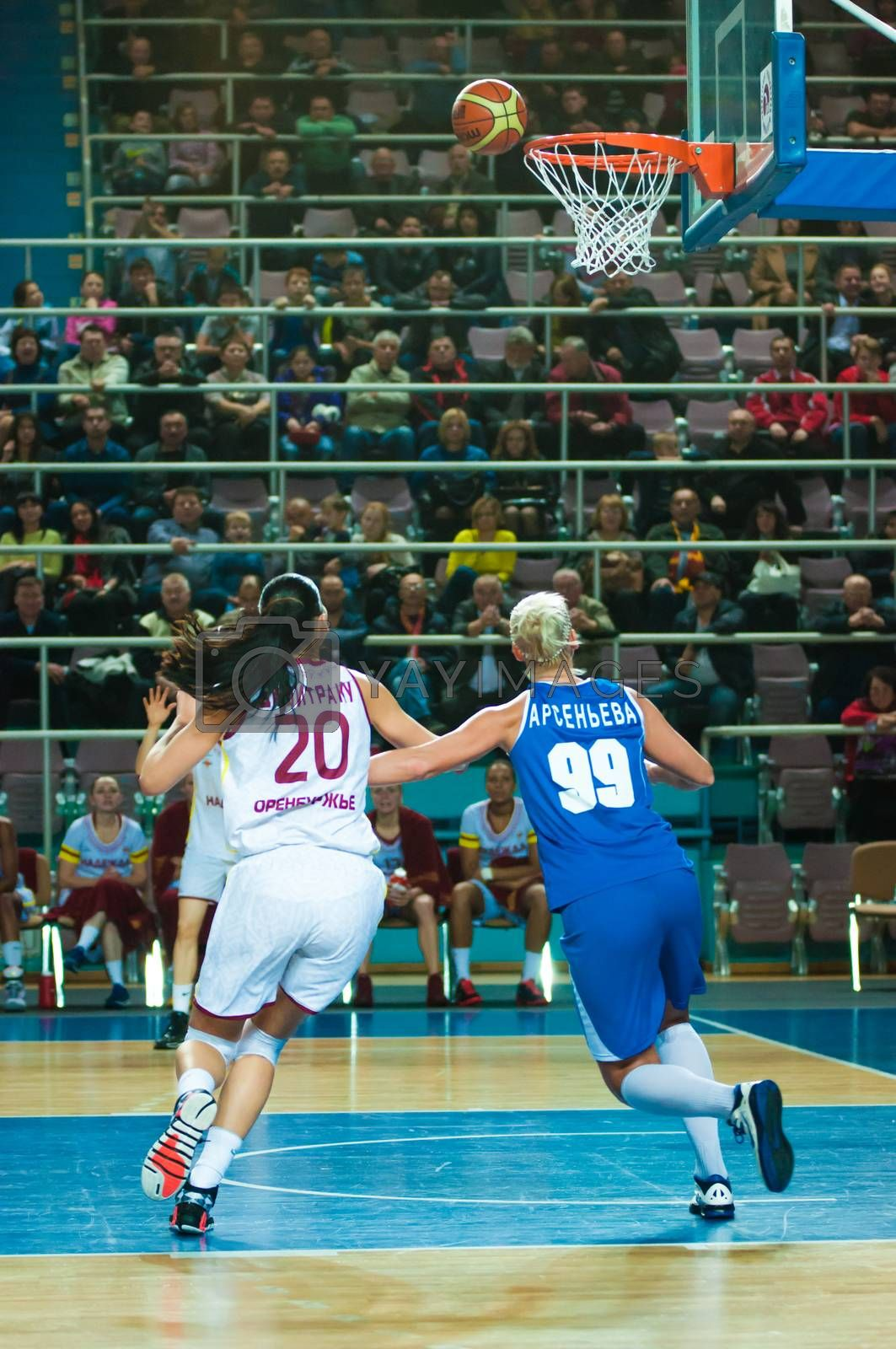 ORENBURG, ORENBURG region, RUSSIA, 21 October, 2014 year. Match of the womens League of the Championship of Russia on basketball Nadezhda (Orenburg)-Dinamo GUVD (Novosibirsk)
