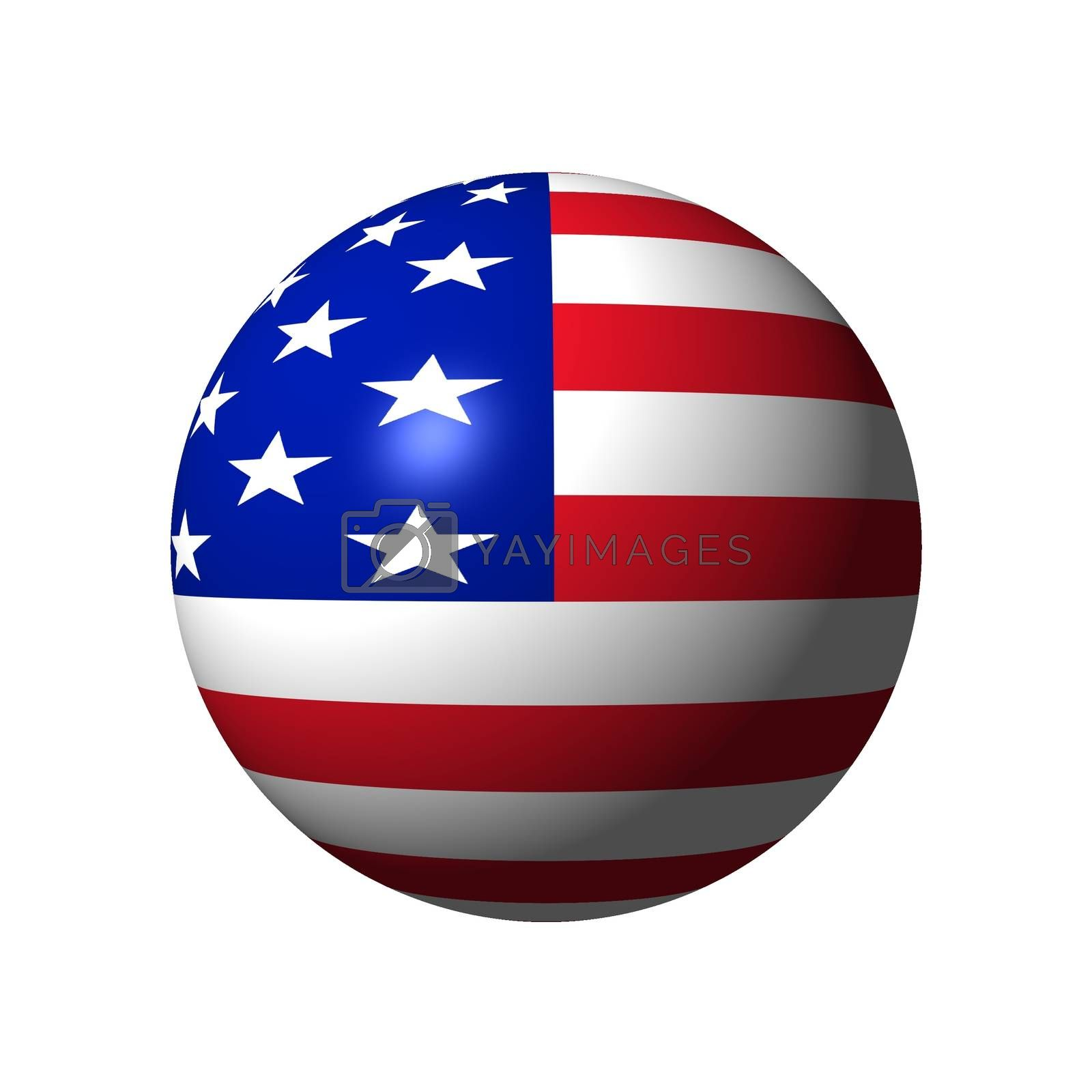 Sphere with flag of USA nation