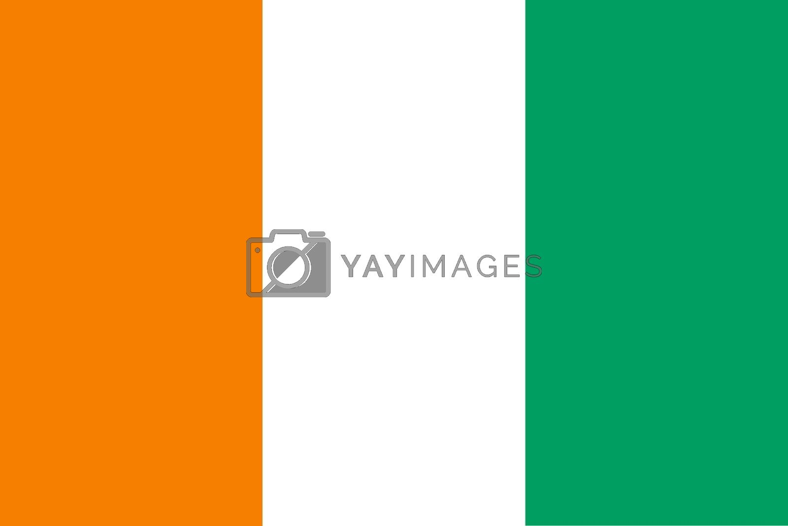 Official flag of Ivory Coast nation