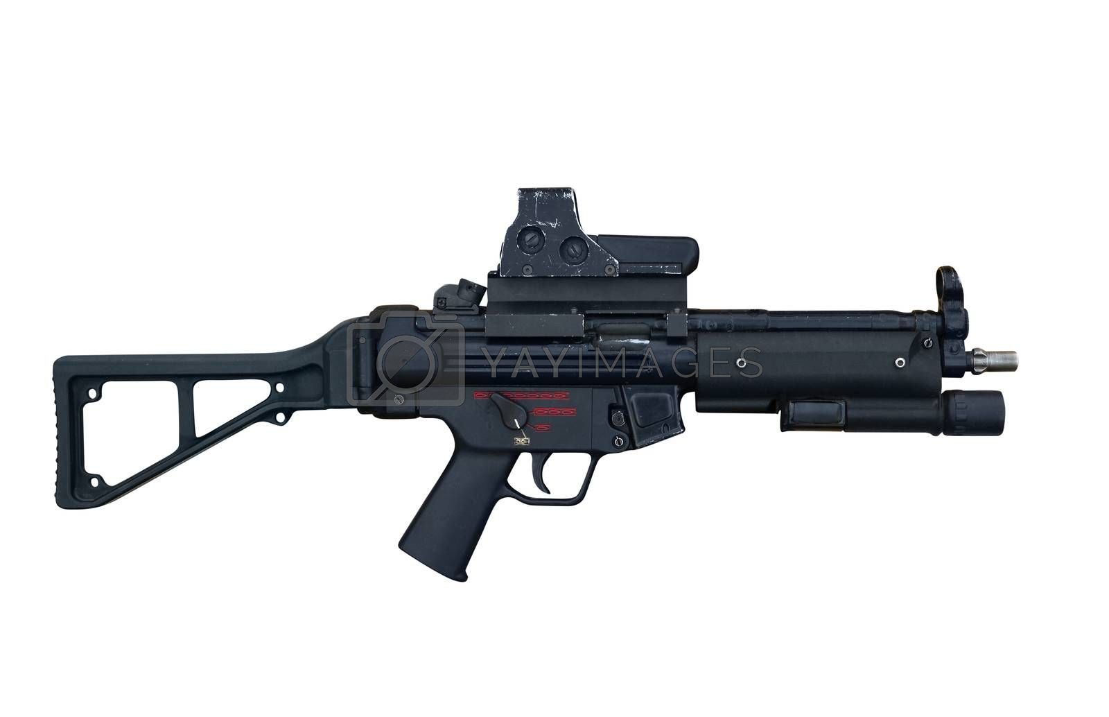 German  special forces machine gun Heckler and Koch MP5 E6 calliber 9 mm. Isolated with path on white background.