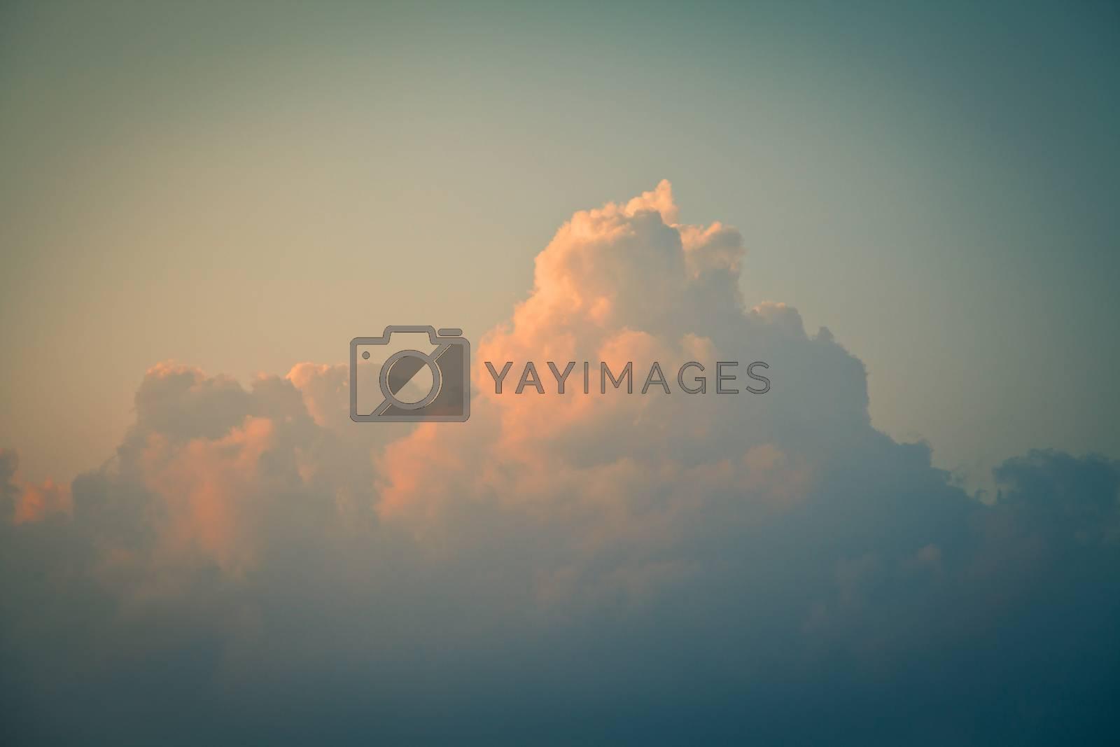Cumulus clouds at dawn. Toned image