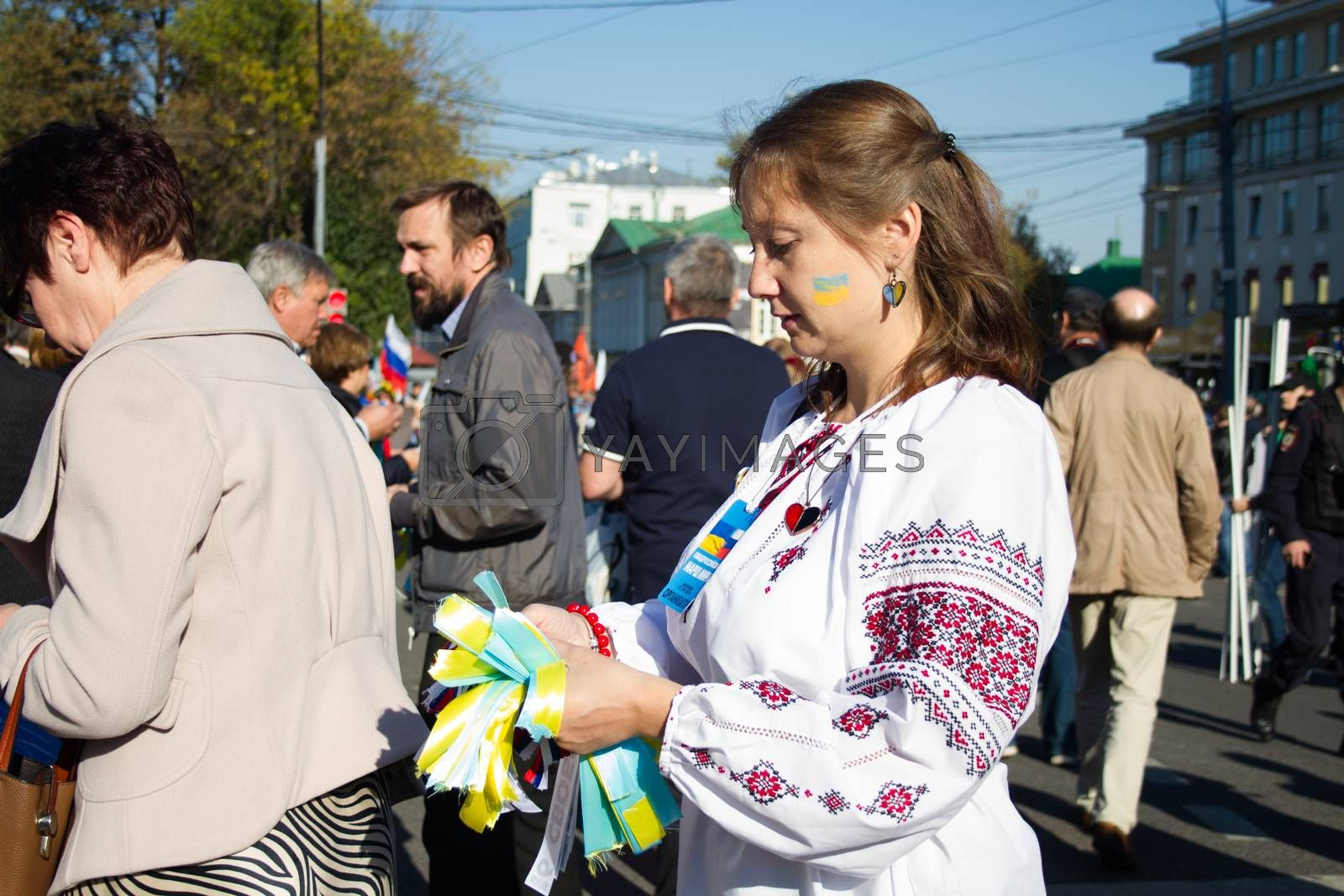 Royalty free image of Peace March, girl in the Ukrainian national clothes by olegkozyrev