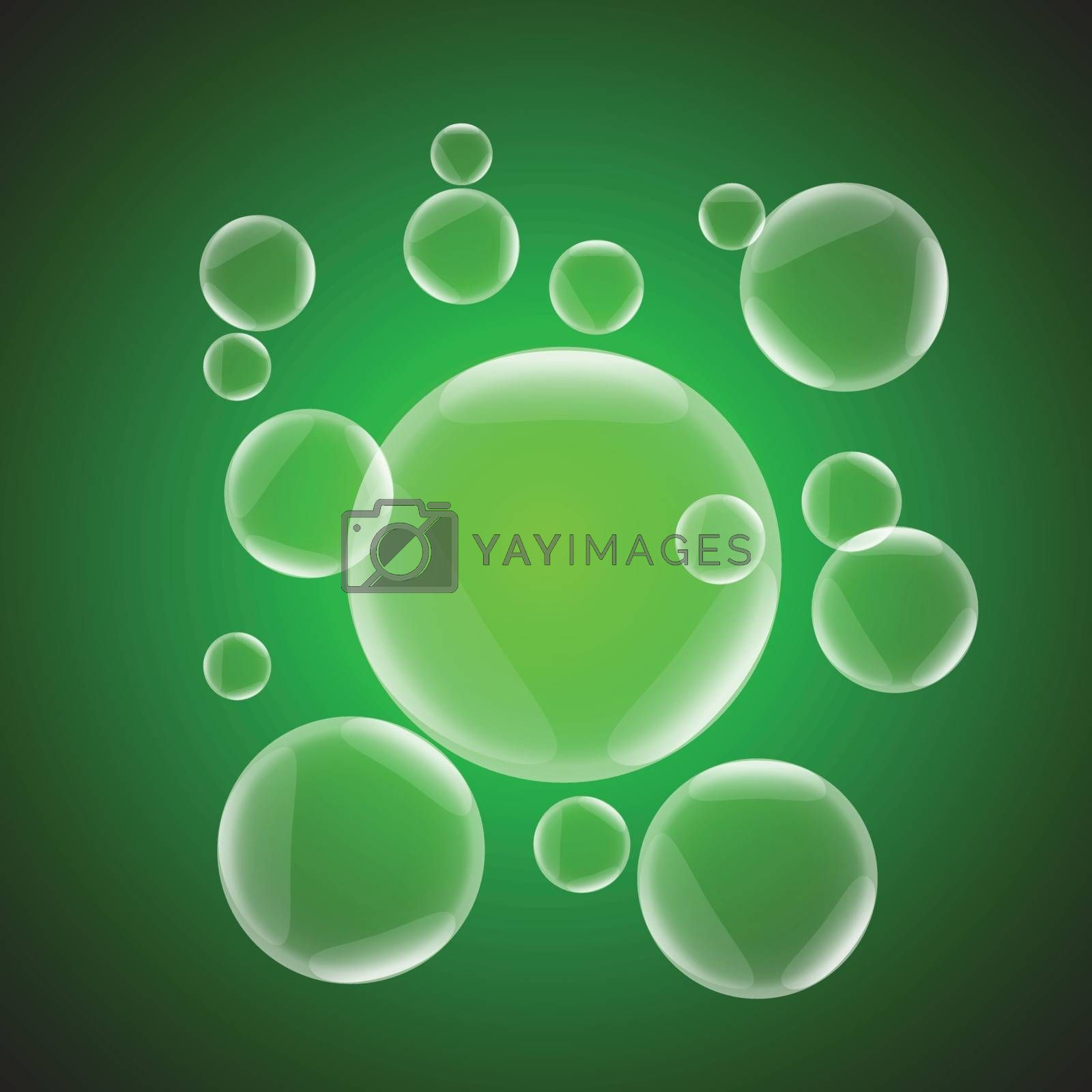 Abstract background with green glossy bubble, stock vector