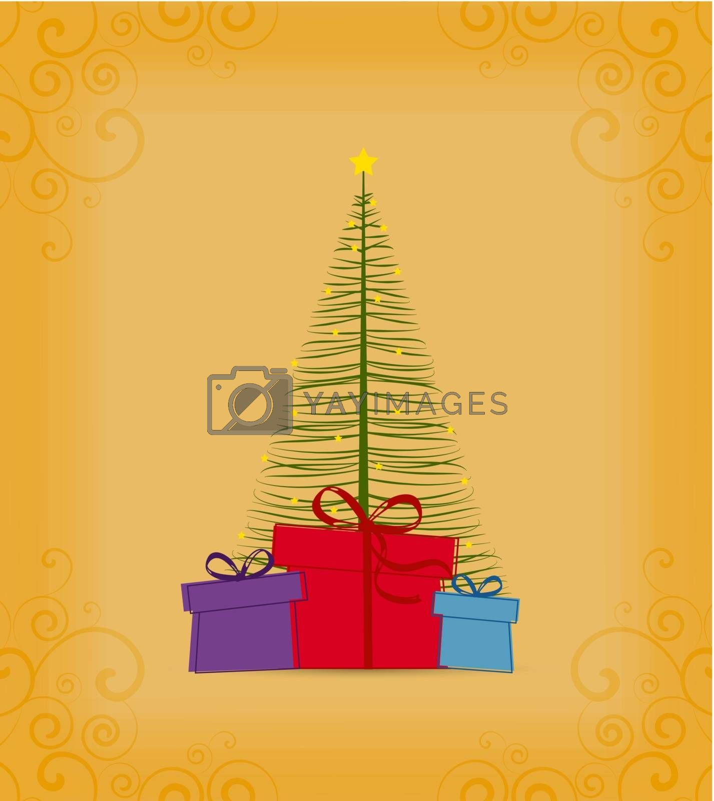 Colored decorative christmas tree, vector Christmas card