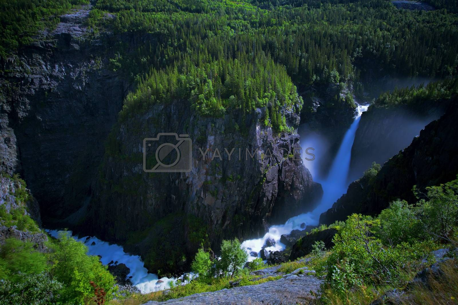 Royalty free image of Rjukanfossen from above by kjorgen