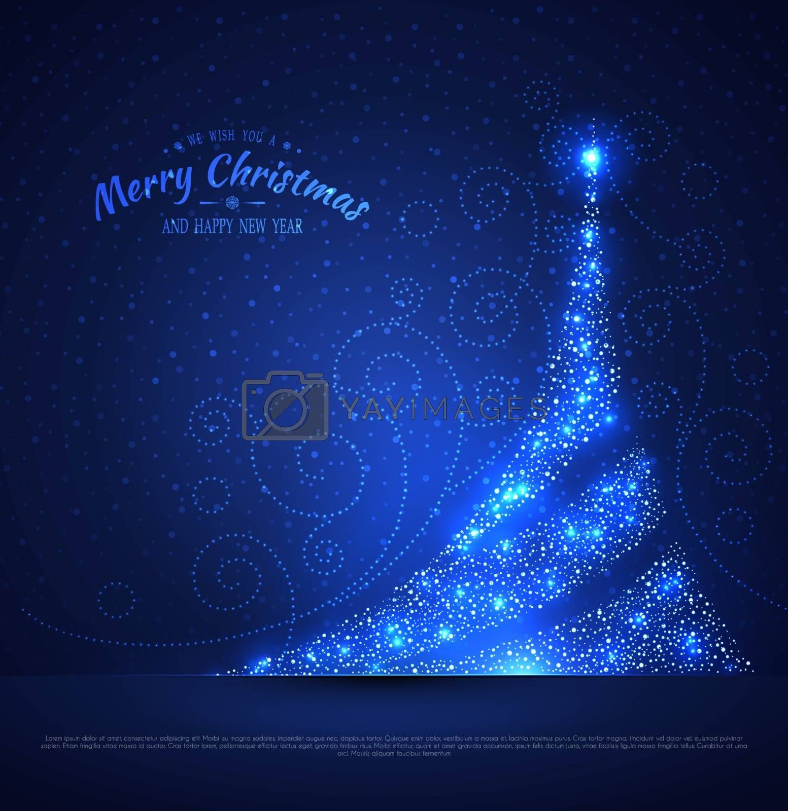 Vector illustration of Xmas tree glowing background