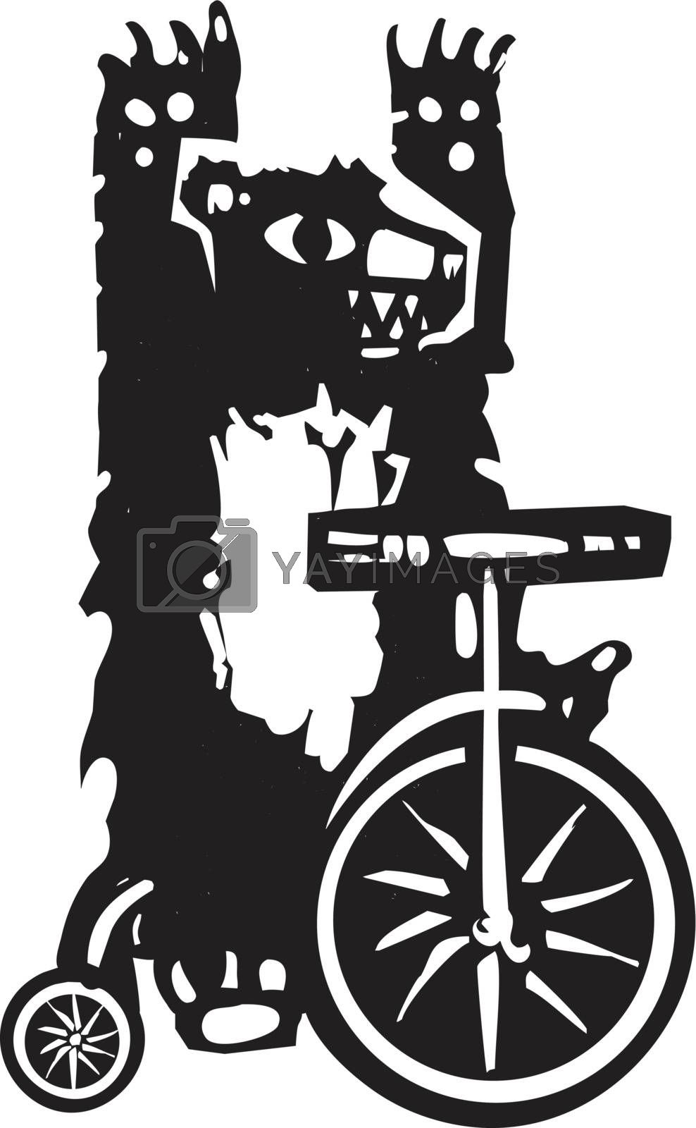 Woodcut style image of a circus bear on a tricycle.