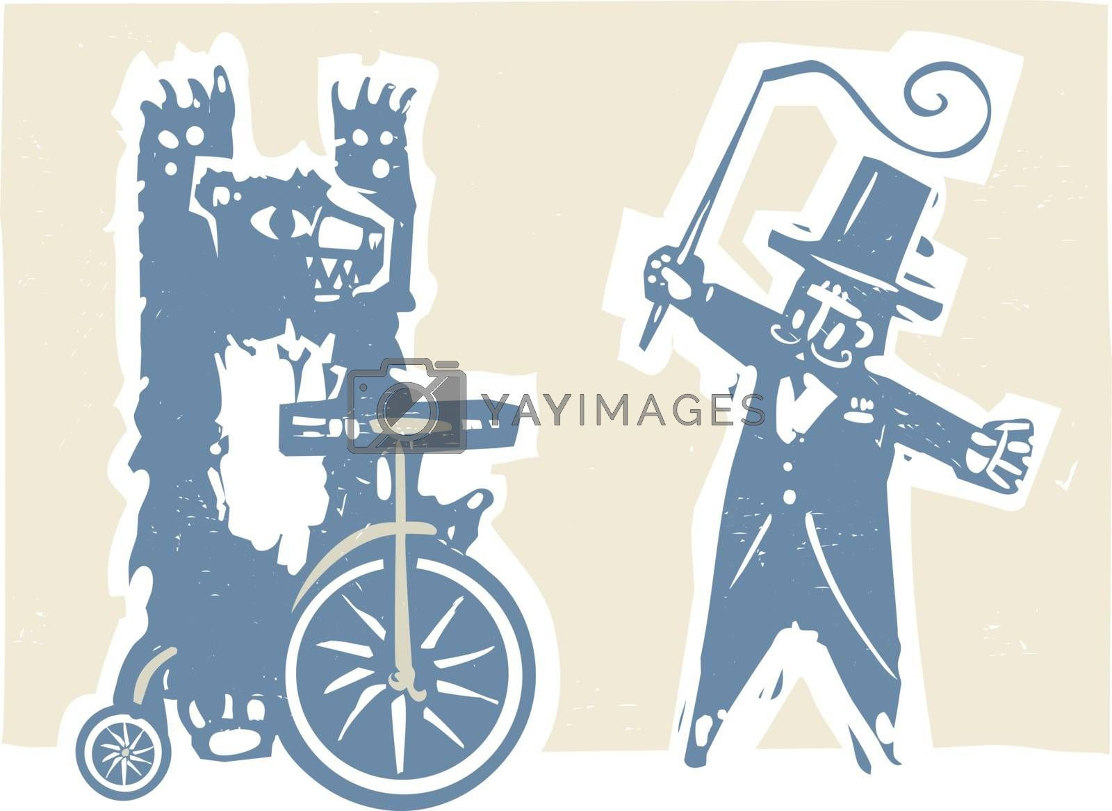 Woodcut style image of a circus bear on a tricycle with a ringmaster.