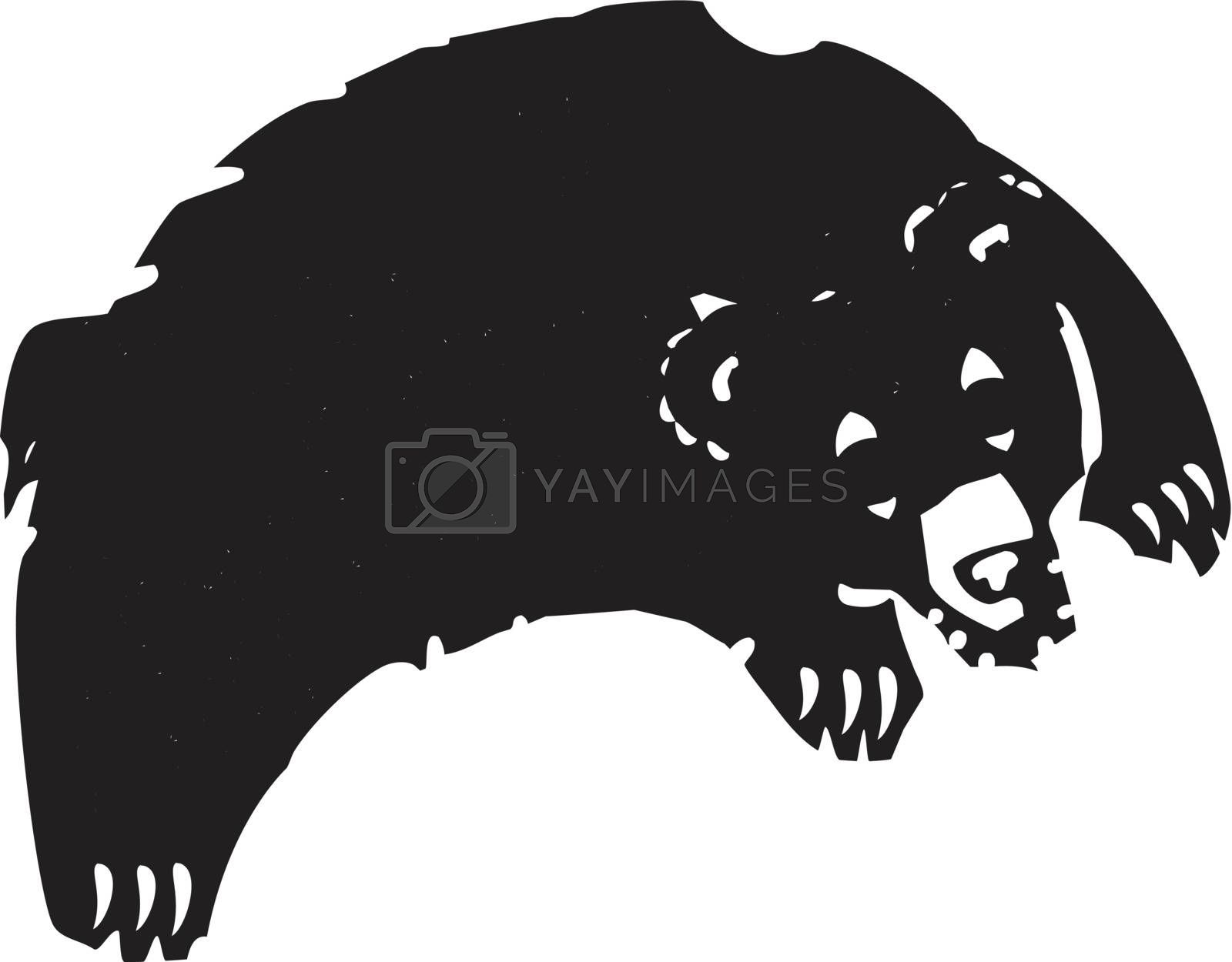 Woodcut style image of a bear leaping